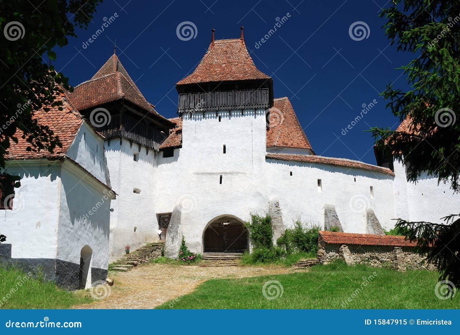 Het panorama van Viscri, Transsylvanië, Roemenië