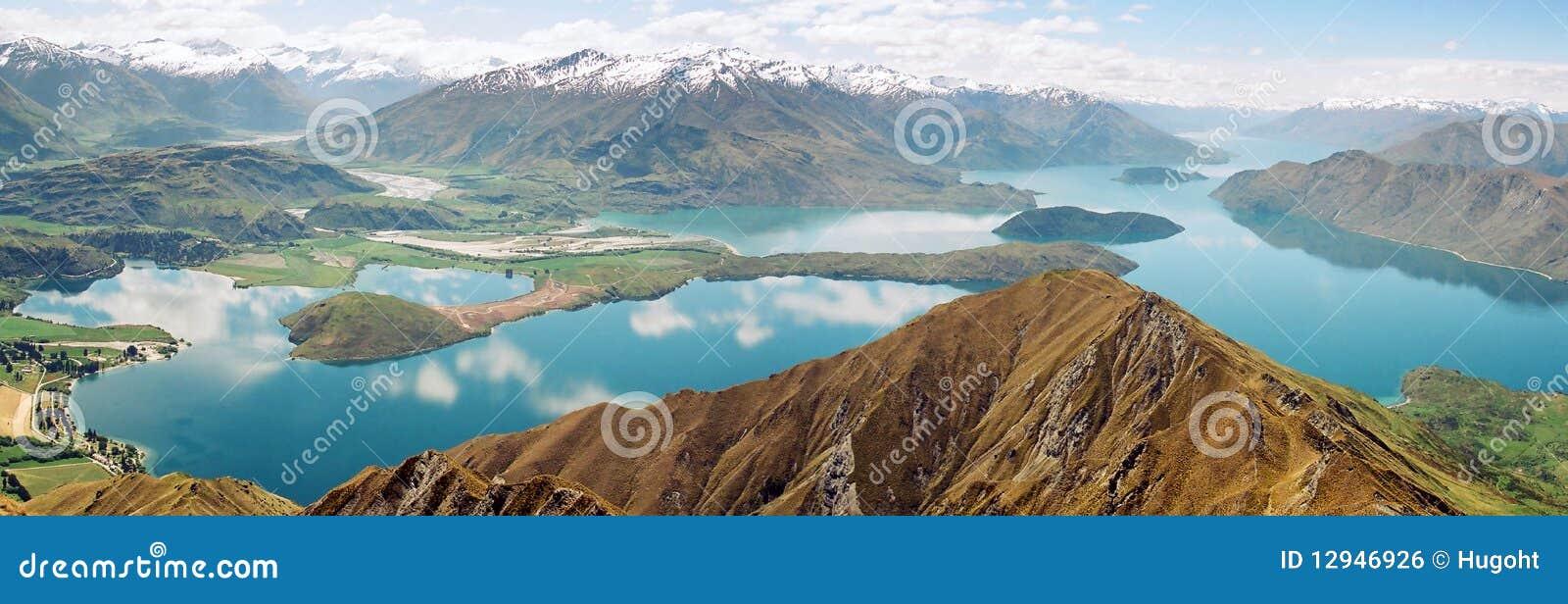 Het panorama van Wanaka van het meer