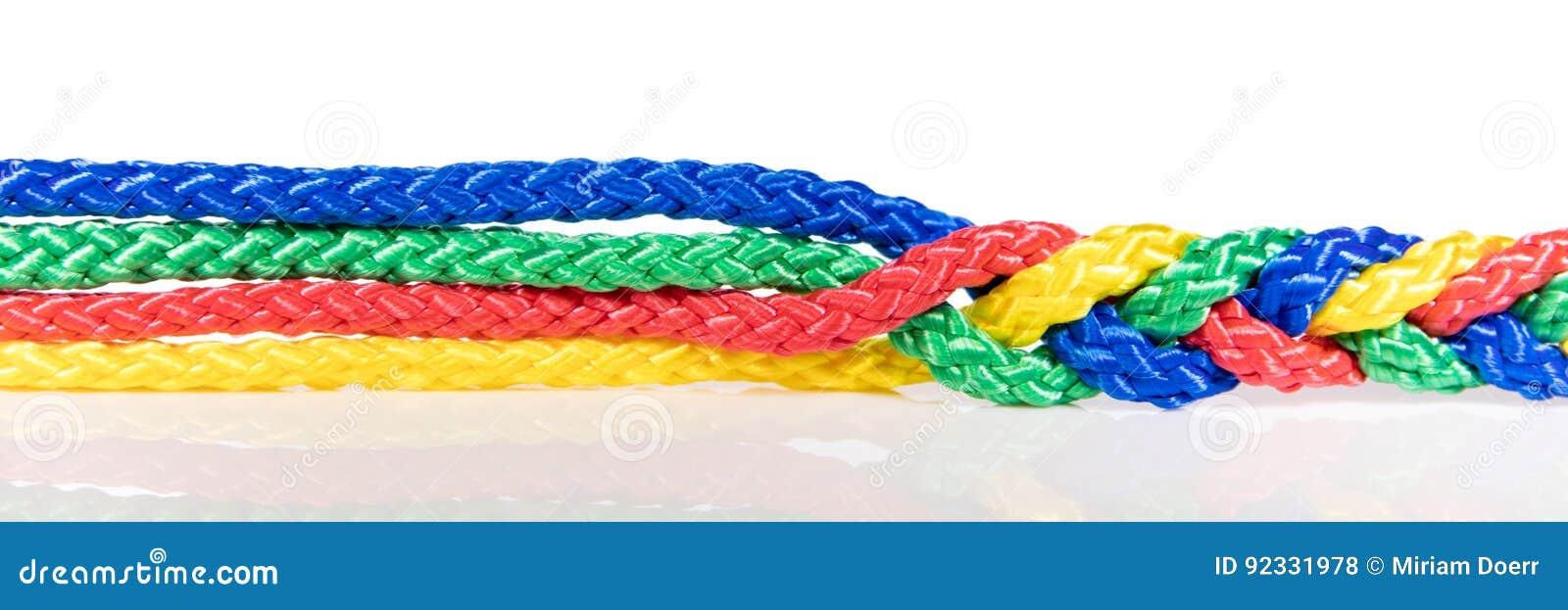 Het panorama, wordt kleurrijke kabels verbonden, samenwerking en samenhang