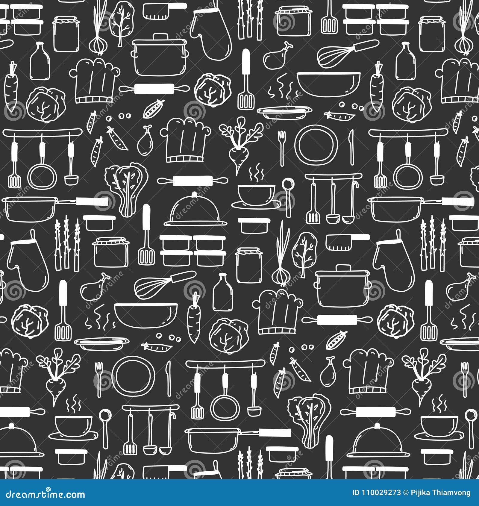 Het patroon met Lijnhand Getrokken Krabbel Vector het Koken Reeks omvat Kokende Uitrusting & Grondstoffen