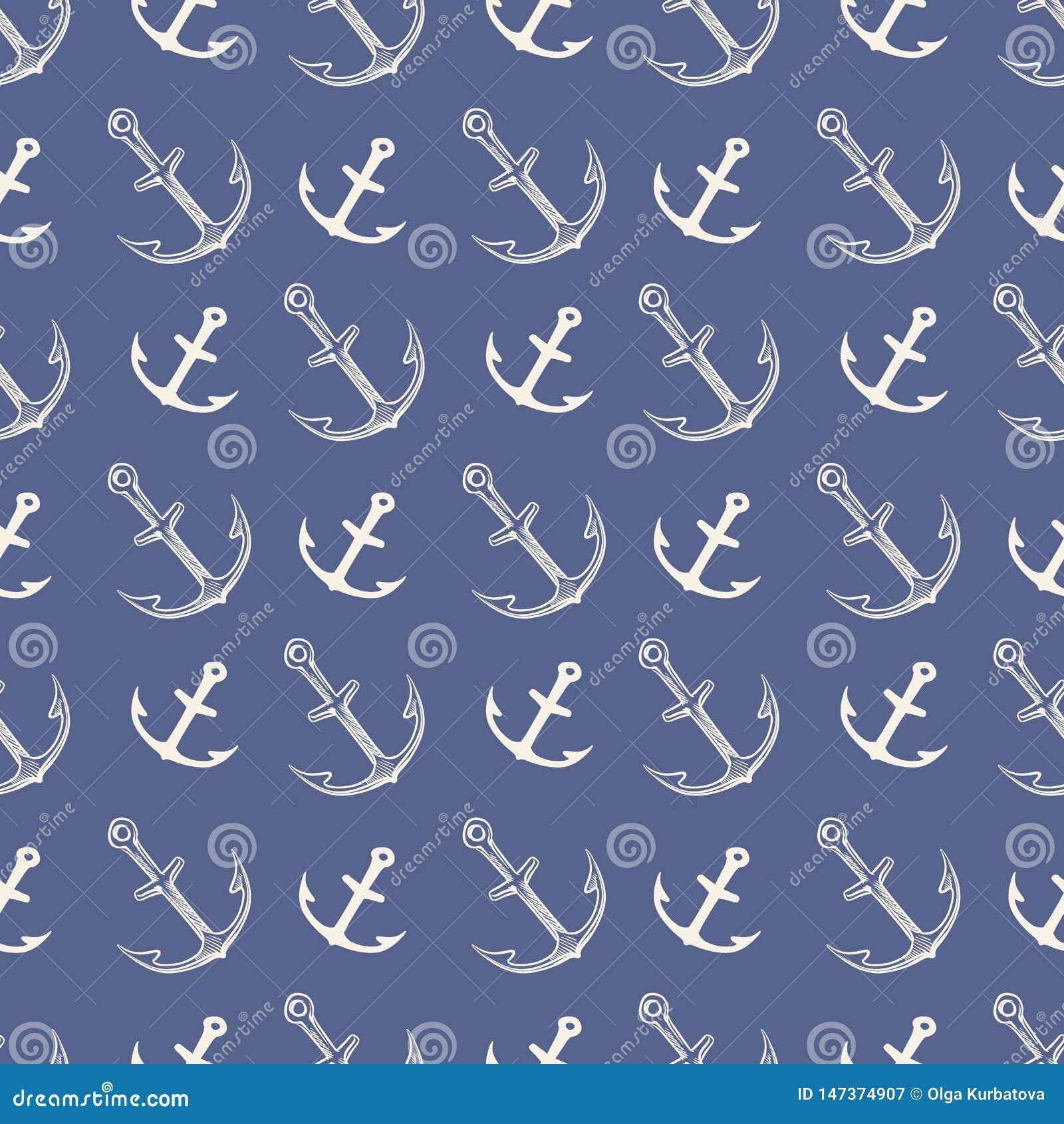 Het patroon van het anker Uitstekende ankers van het ijzer verschepen de zware silhouet voor overzeese boot en oceaan embleemillu