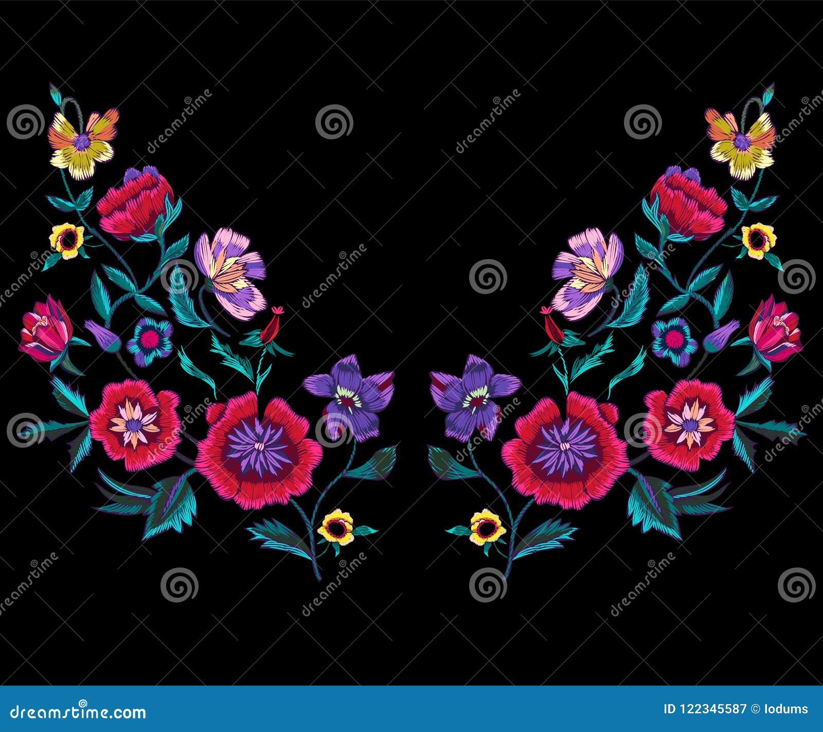Het patroon van de borduurwerkhalslijn met papavers en weidebloemen