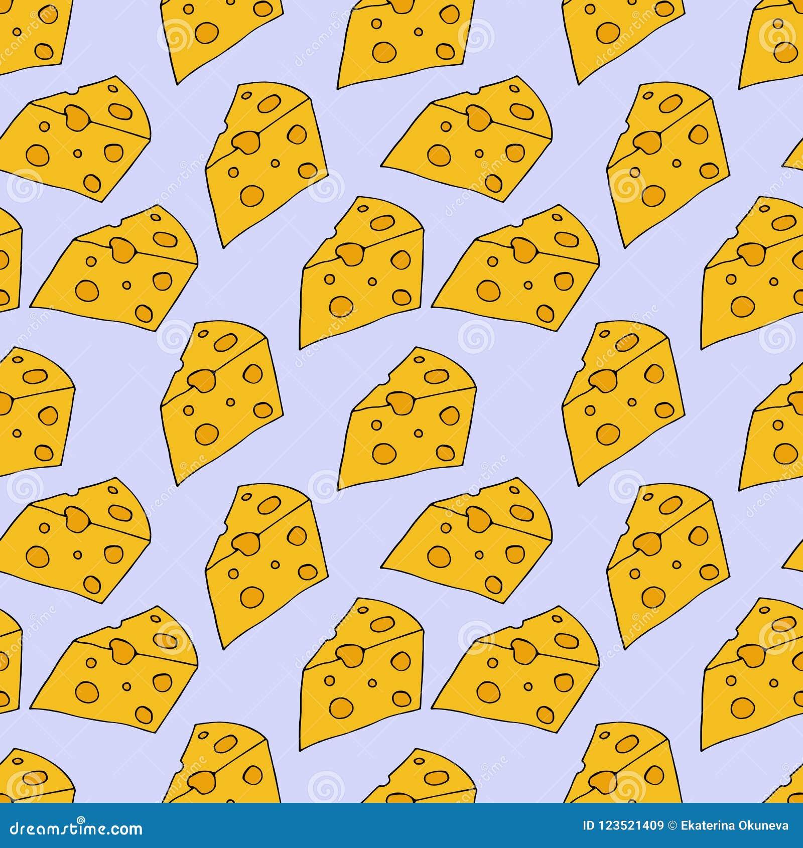 Het patroon van de kaas Hand getrokken illustratie Heldere beeldverhaalillustratie voor menuontwerp, stof en behang