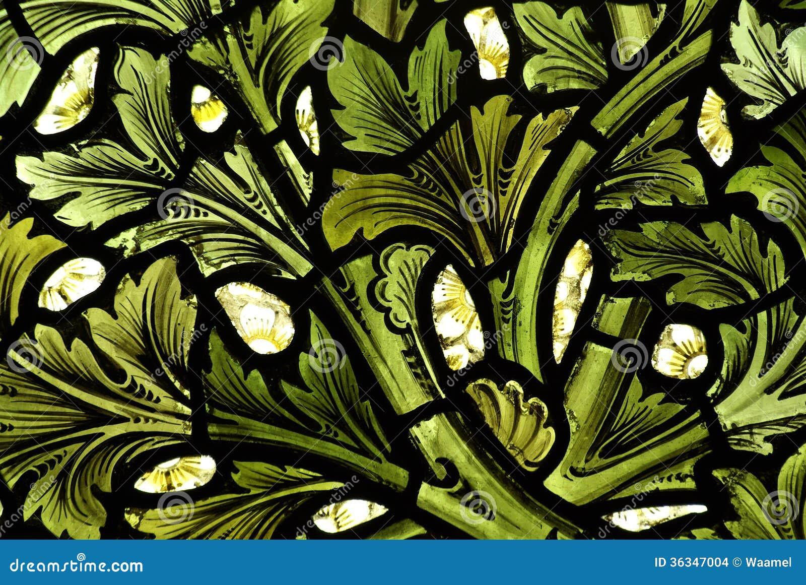 Het patroon van doorbladert in gebrandschilderd glas