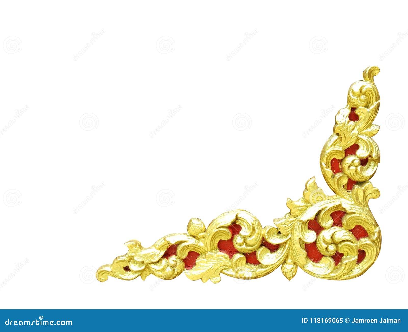 Het patroon van gouden houten die kader sneed bloem op witte backg wordt geïsoleerd