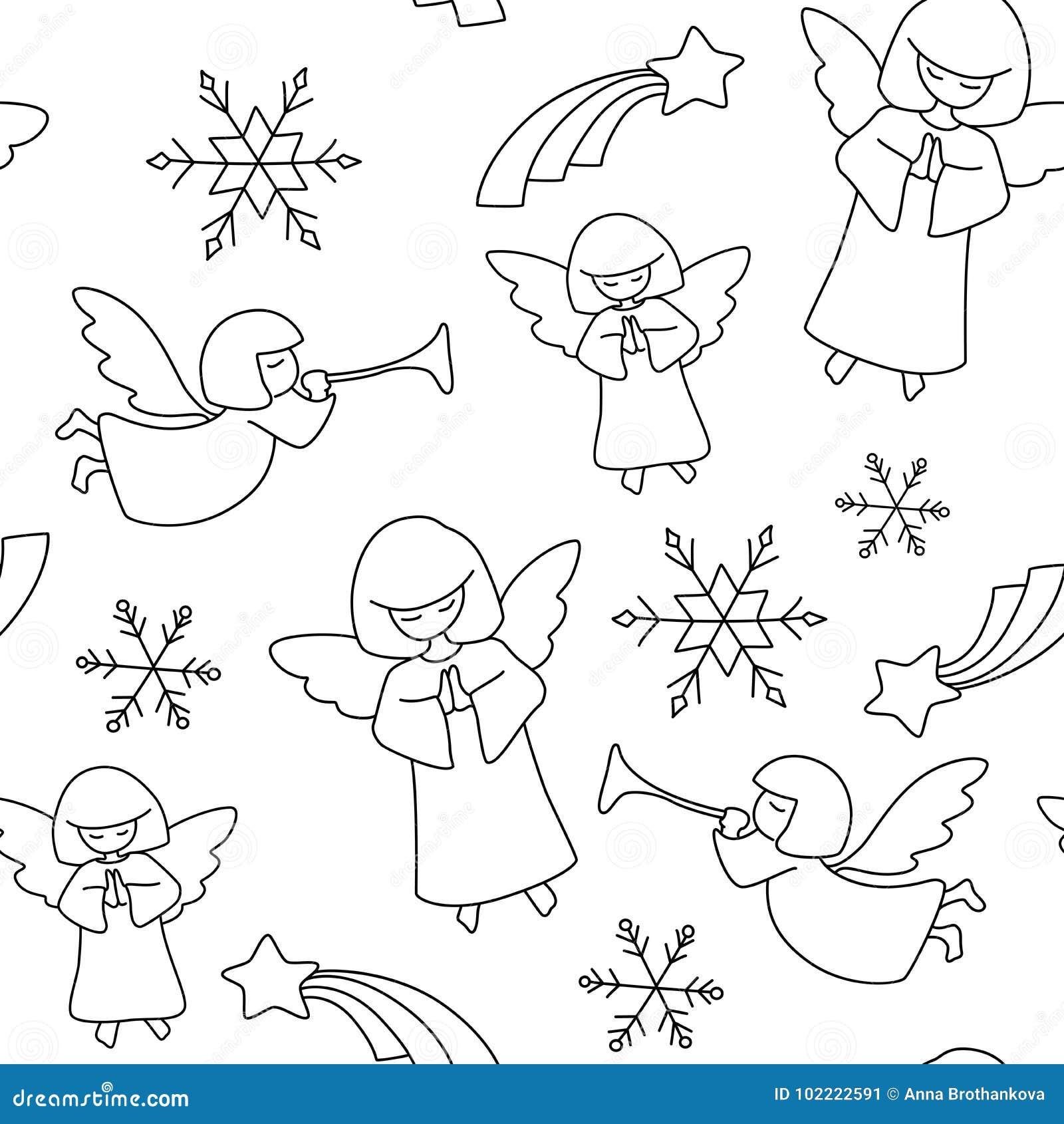 Het patroon van Kerstmis Engelen, sterren en sneeuwvlokken