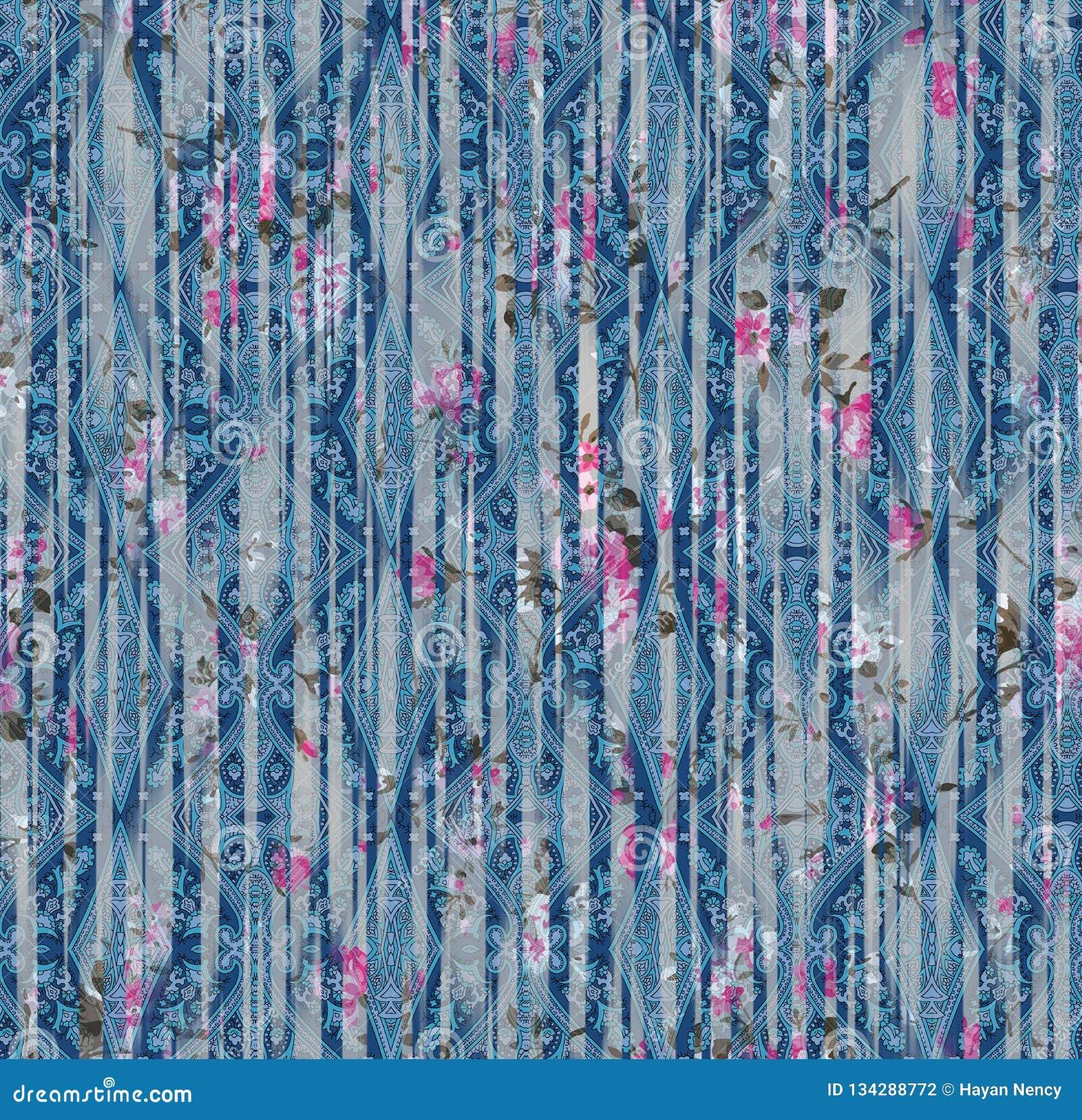 Het patroon van Paisley etnisch naadloos het schilderen digitaal waterverf bloemenpatroon