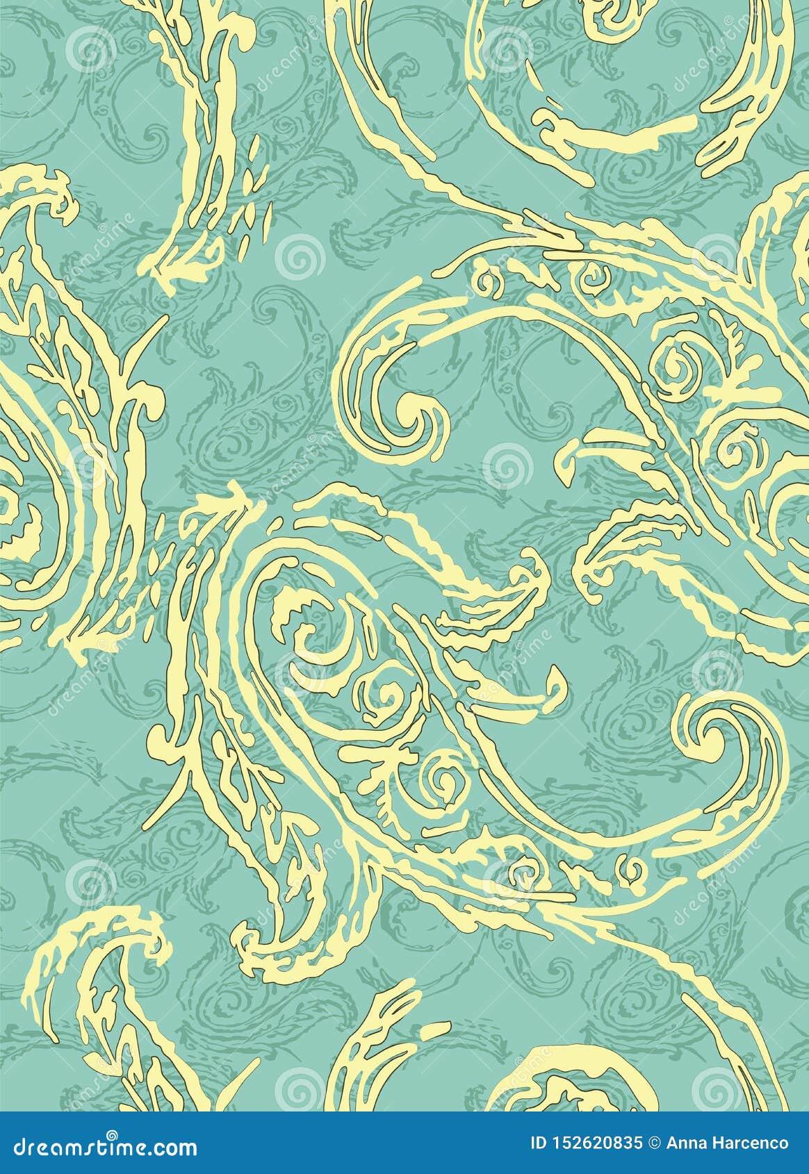 Het patroon van Paisley Traditionele etnische elementen Naadloze ornament Turkse komkommer Aziatische motieven voor manier, binne