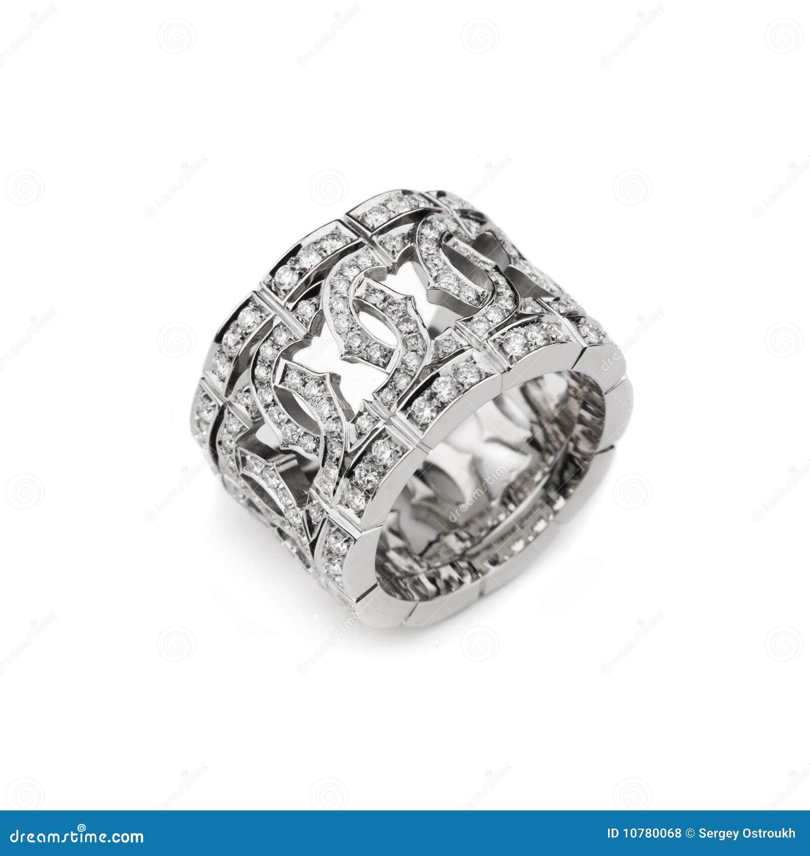 Het patroonring van het witgoud met witte diamanten voor gi