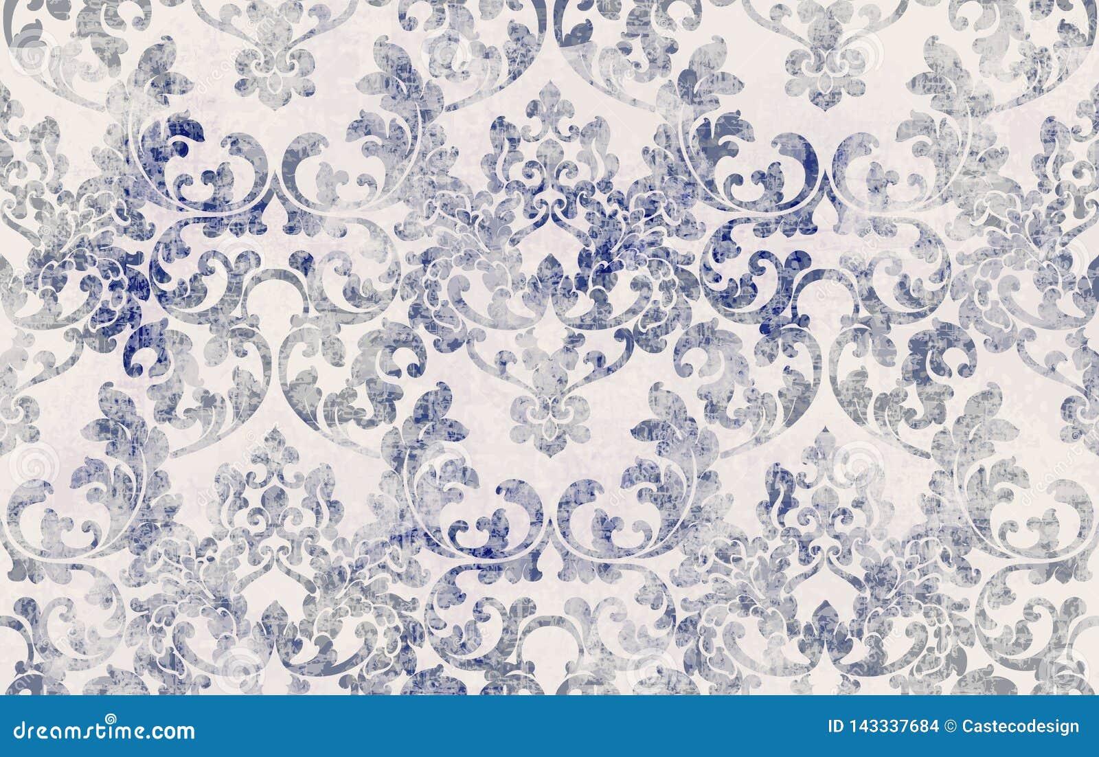 Het patroonvector van de rococo stextuur Bloemenornamentdecoratie Victoriaans gegraveerd retro ontwerp De uitstekende decors van