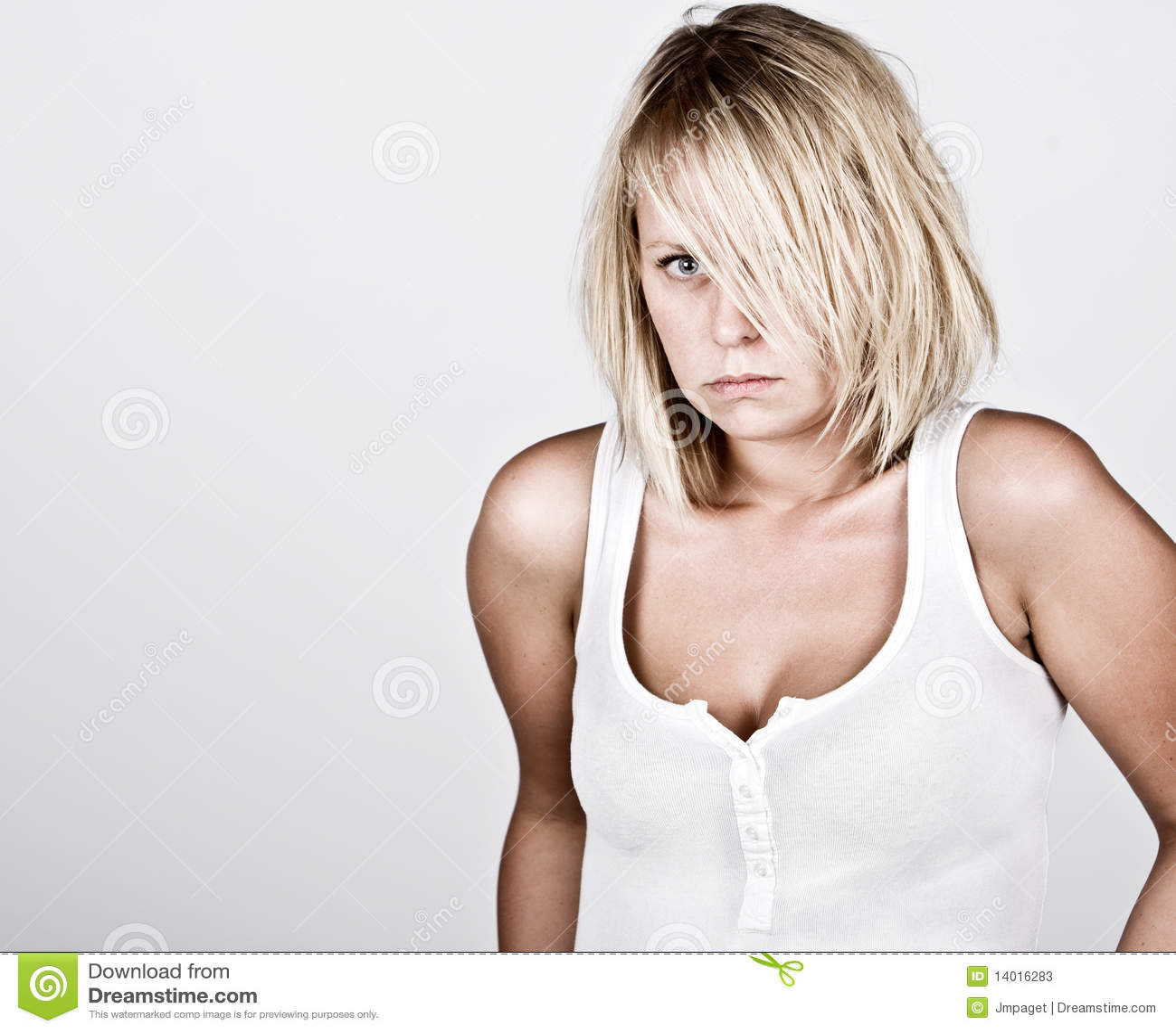 Het peinzende Wijfje van de Blonde in Wit Vest