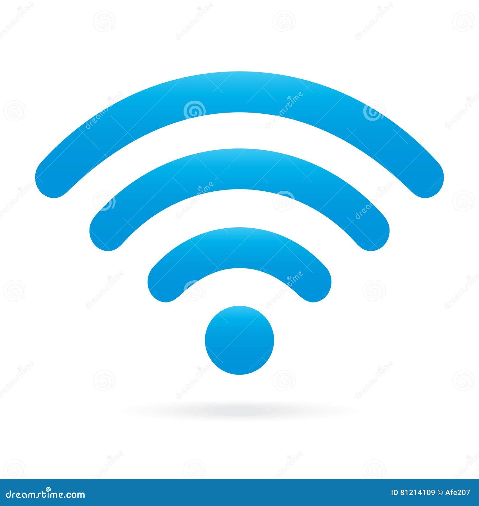Het pictogram draadloos symbool van hemel lichtblauw wifi op geïsoleerde achtergrond