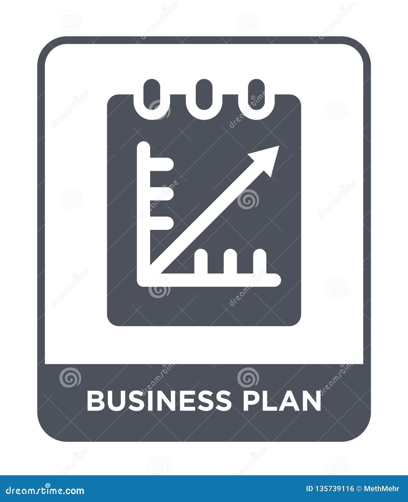 Het pictogram van het businessplan in in ontwerpstijl het pictogram van het businessplan op witte achtergrond wordt geïsoleerd di