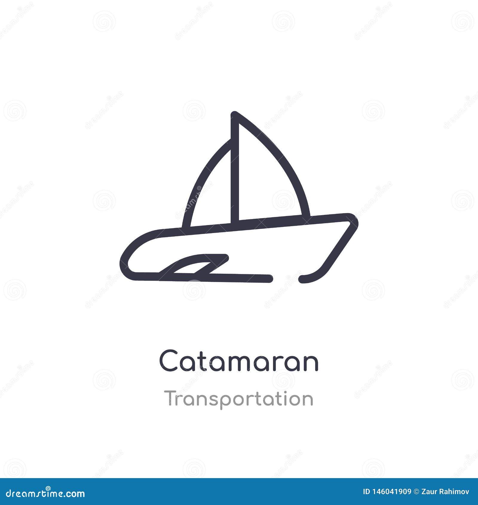 Het pictogram van het catamaranoverzicht ge?soleerde lijn vectorillustratie van vervoersinzameling het editable dunne pictogram v
