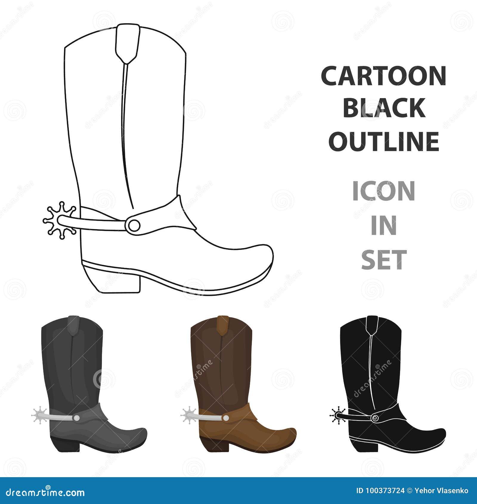 Het pictogram van cowboylaarzen in beeldverhaalstijl op witte achtergrond De voorraad vectorillustratie van het rodeosymbool