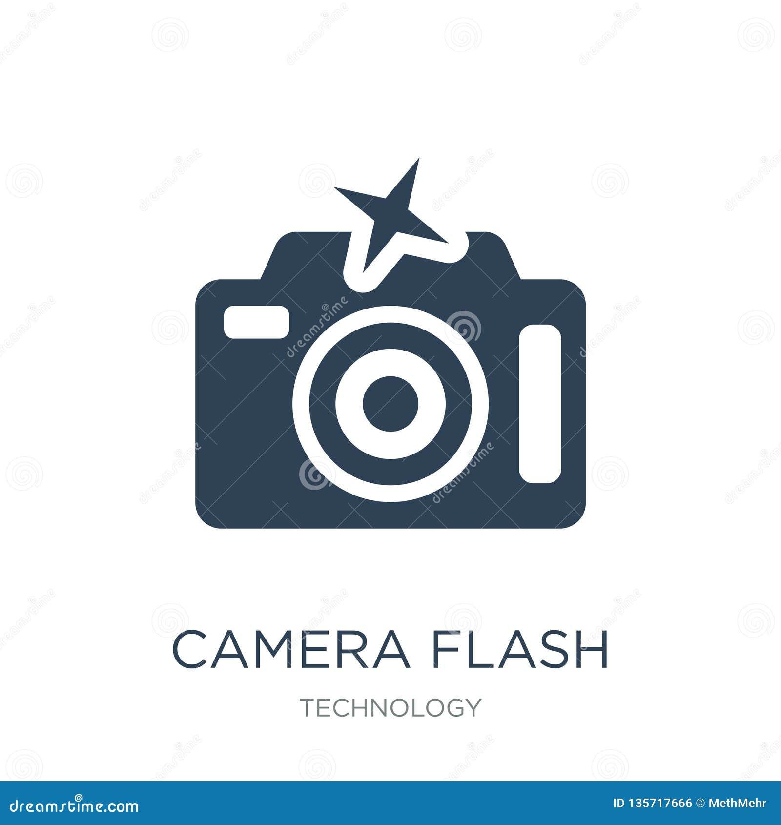 Het pictogram van de cameraflits in in ontwerpstijl het pictogram van de cameraflits op witte achtergrond wordt geïsoleerd die he