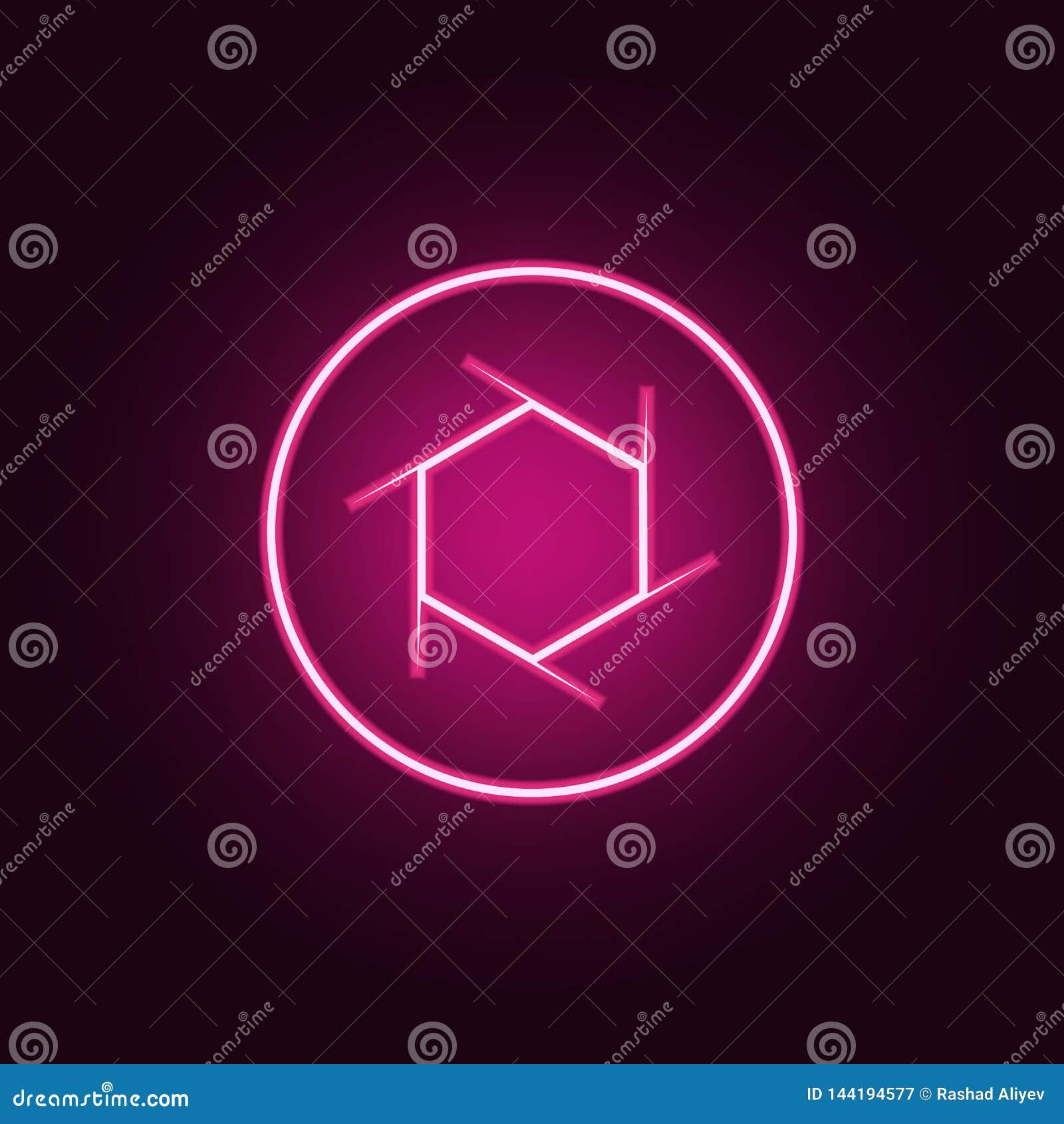 Het pictogram van de cameranadruk Elementen van Foto in de pictogrammen van de neonstijl Eenvoudig pictogram voor websites, Webon