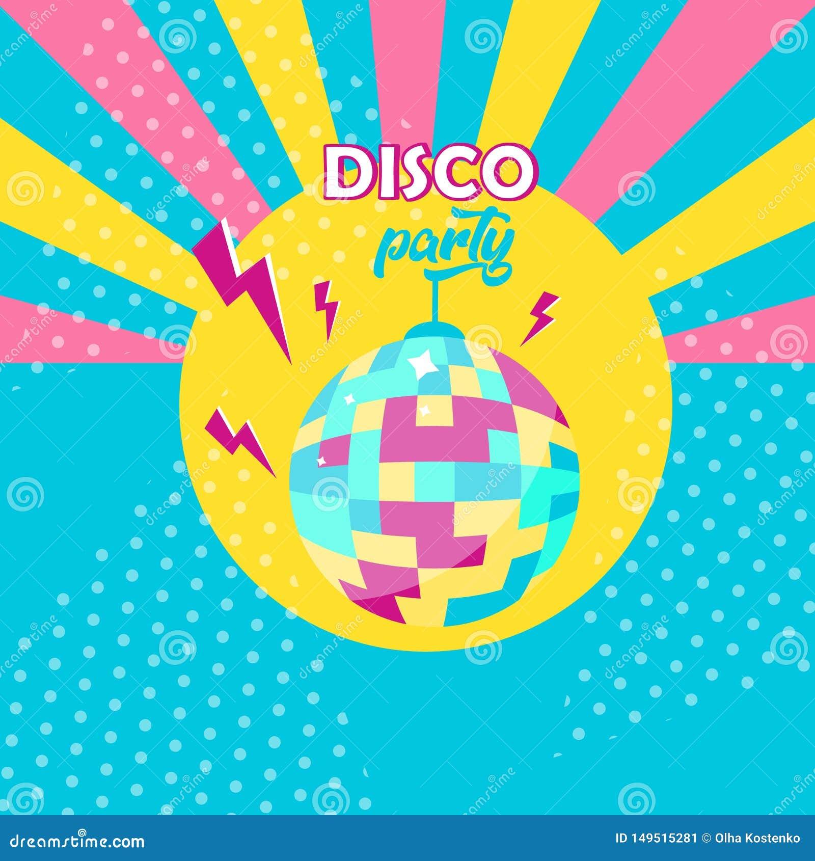 Het pictogram van de discobal De affiche van de discopartij Retro stijl