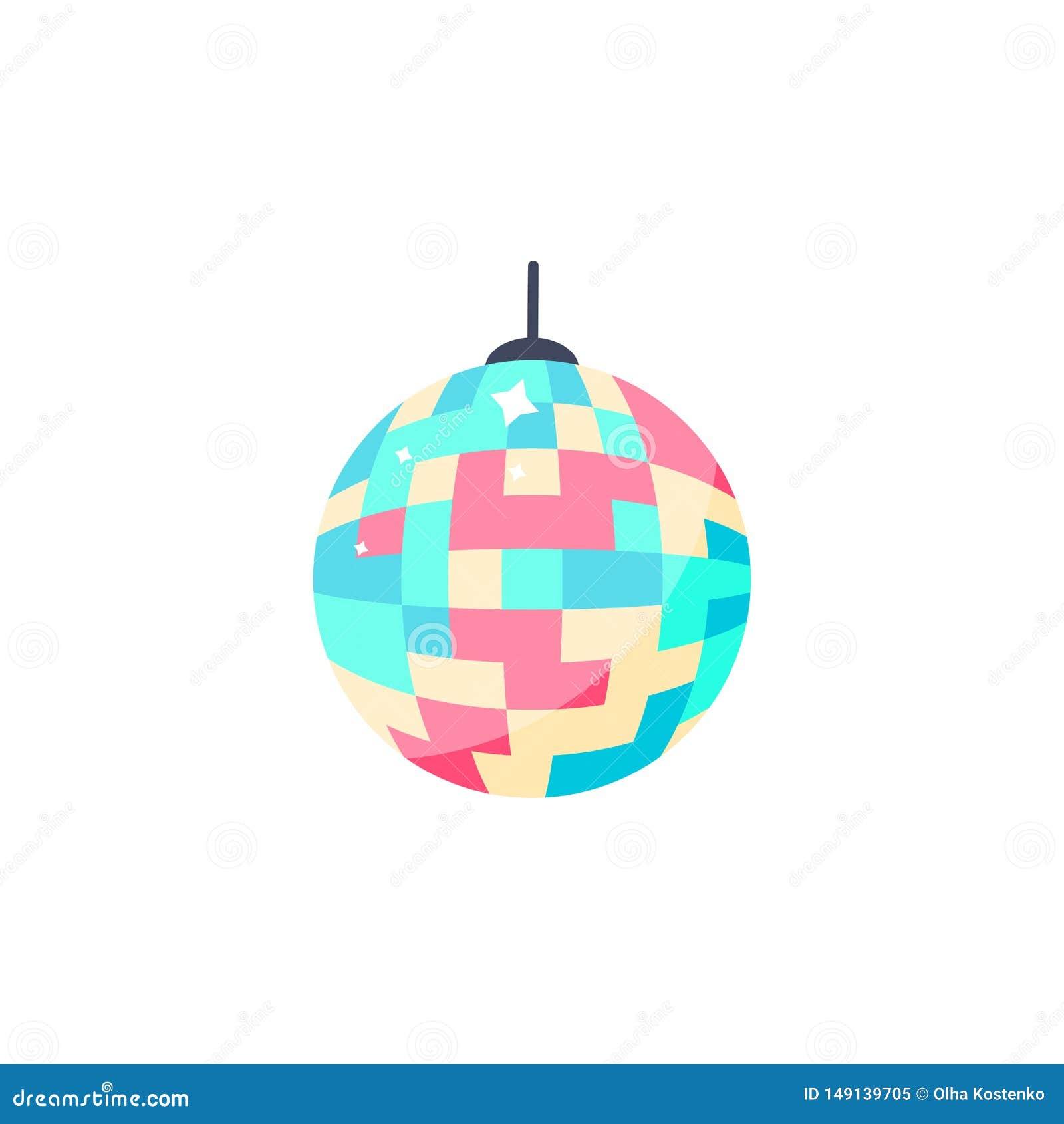 Het pictogram van de discobal Geïsoleerde kleurrijke bal voor partij