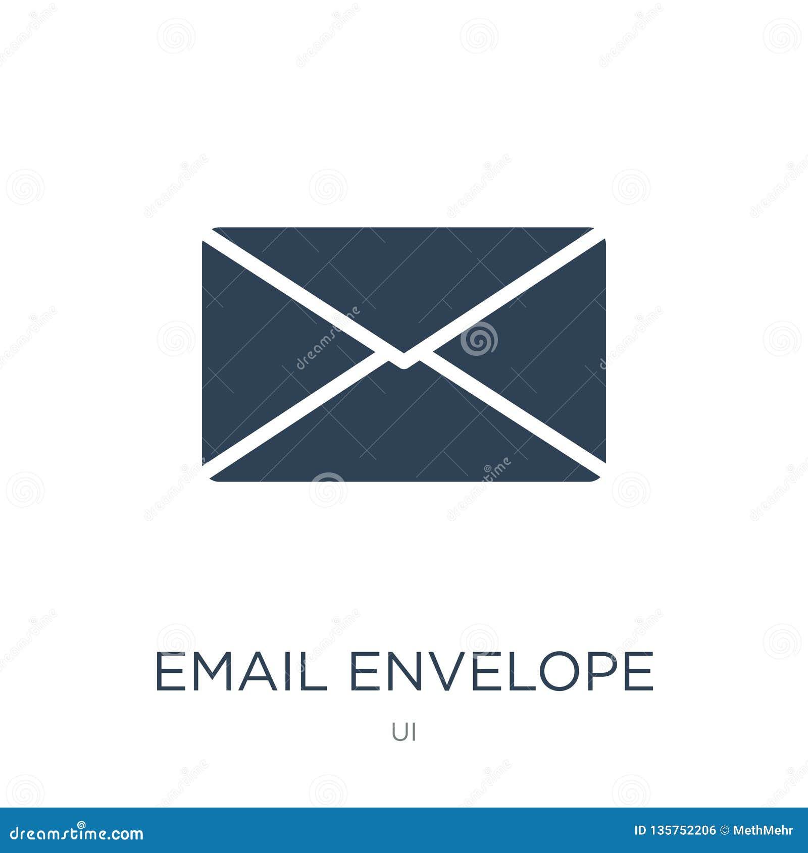 Het pictogram van de e-mailenvelopknoop in in ontwerpstijl het pictogram van de e-maildieenvelopknoop op witte achtergrond wordt