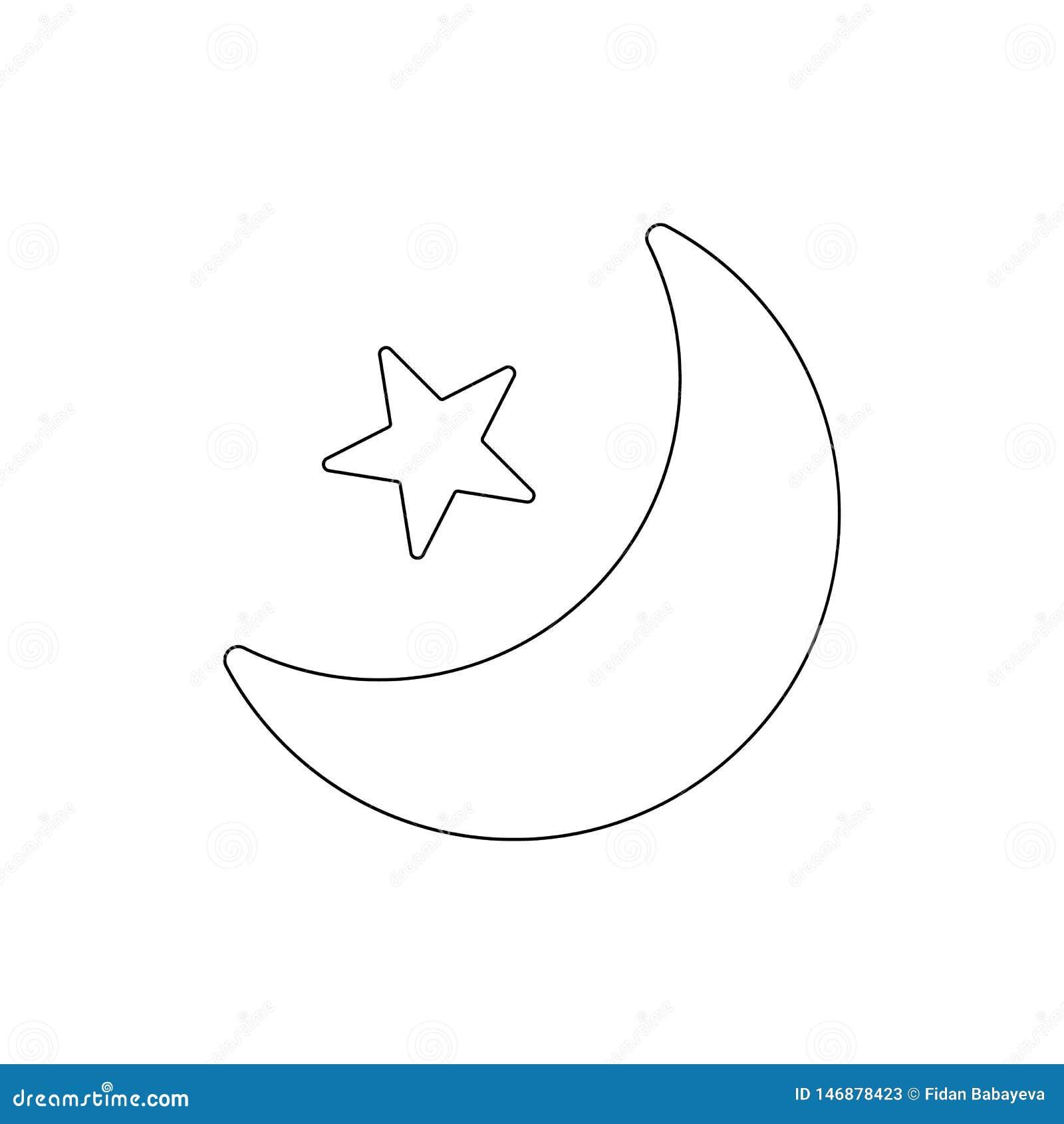Het pictogram van het de faseoverzicht van de maanster De tekens en de symbolen kunnen voor Web, embleem, mobiele toepassing, UI,