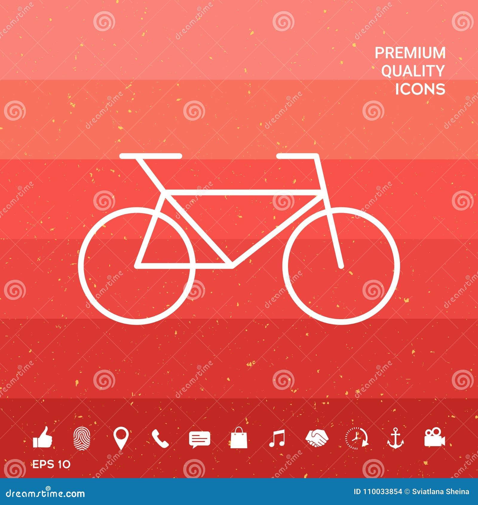 Het pictogram van de fietslijn