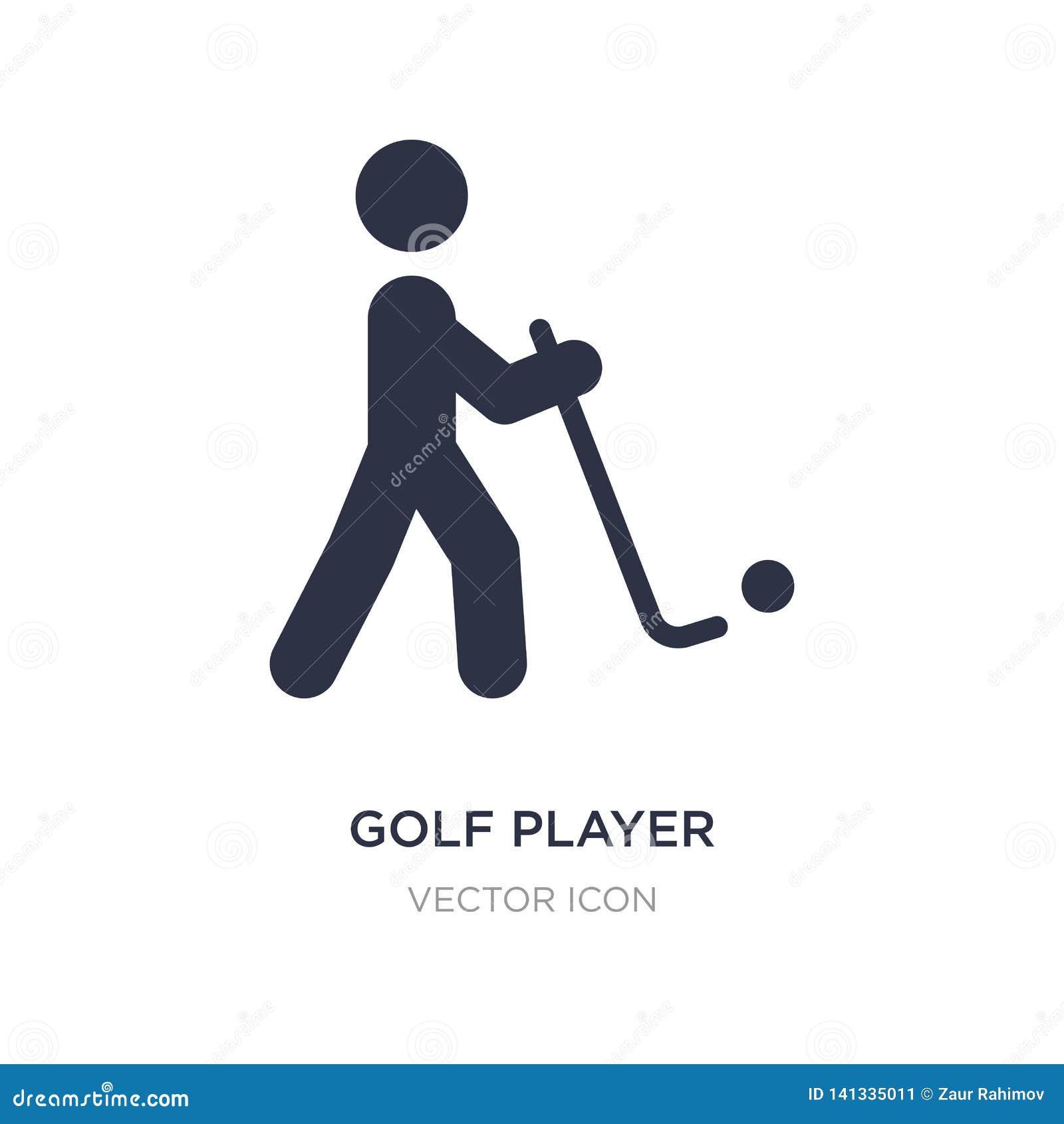 Het pictogram van de golfspeler op witte achtergrond Eenvoudige elementenillustratie van Sportenconcept