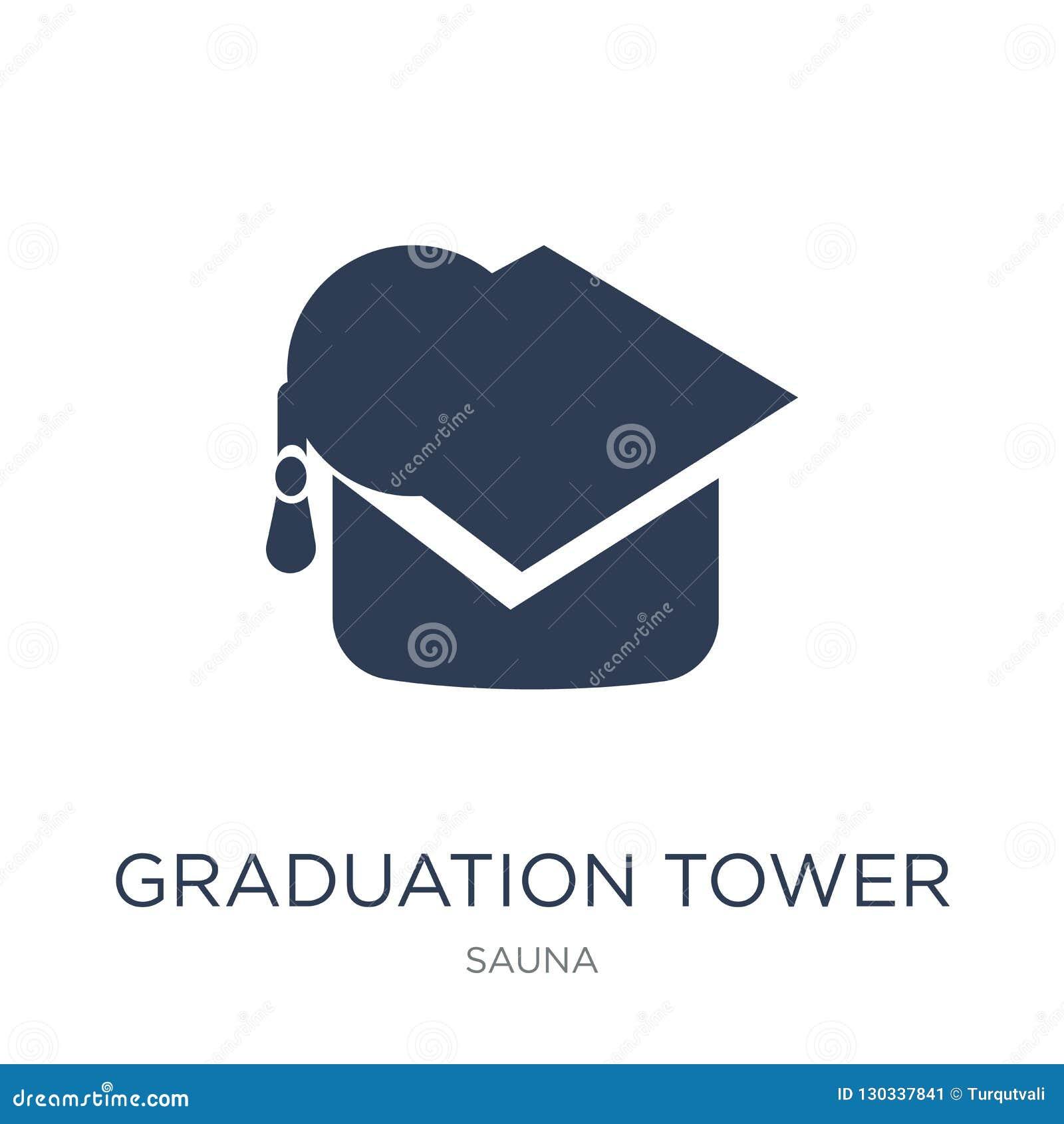 Het pictogram van de graduatietoren Het in vlakke vectorpictogram van de Graduatietoren