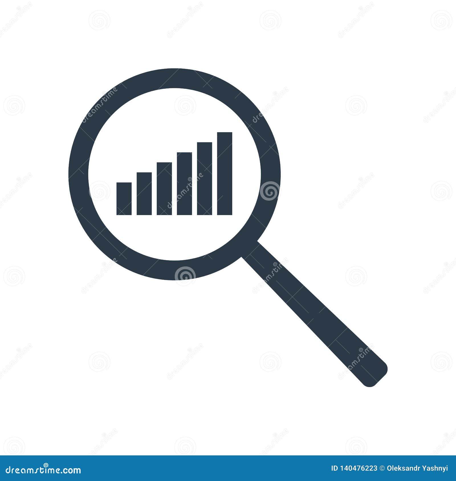 Het pictogram van de grafiek Verhogingsprogramma in meer magnifier Analyse en van Statistiekengegevens symbool Vector illustratie