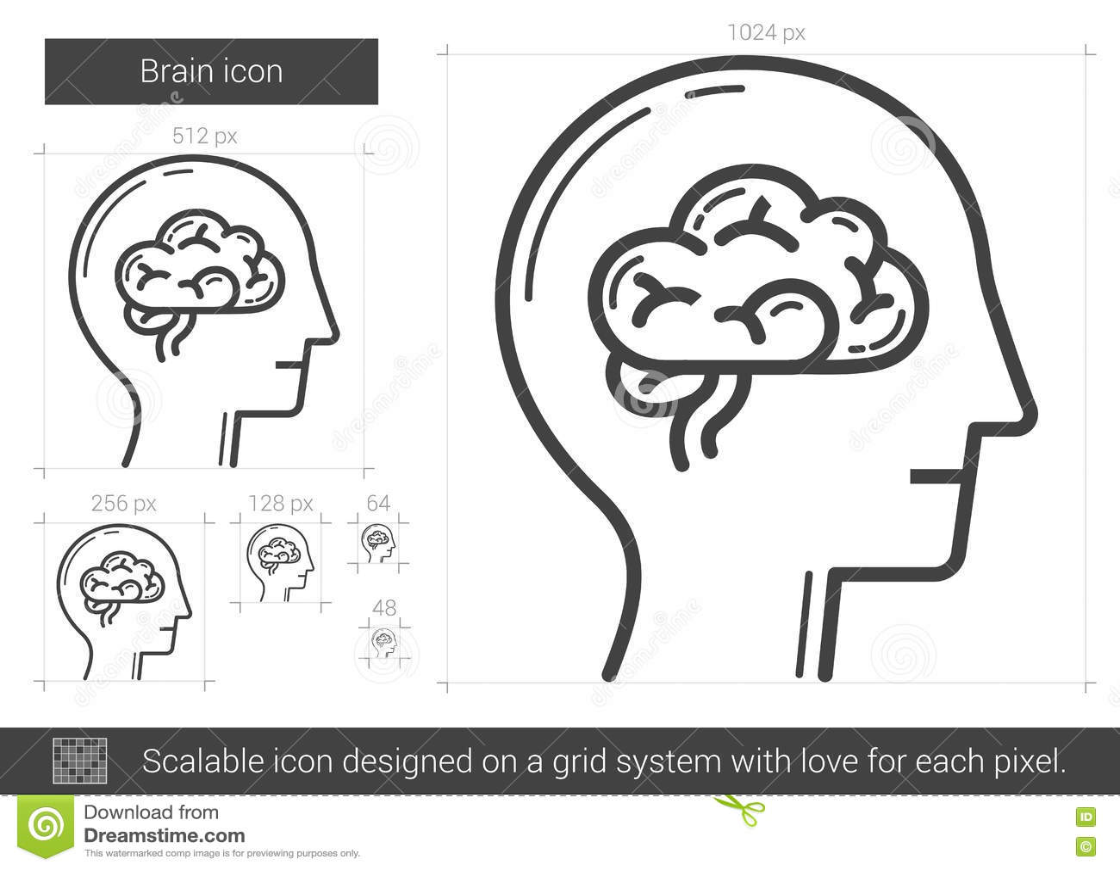 Het pictogram van de hersenenlijn