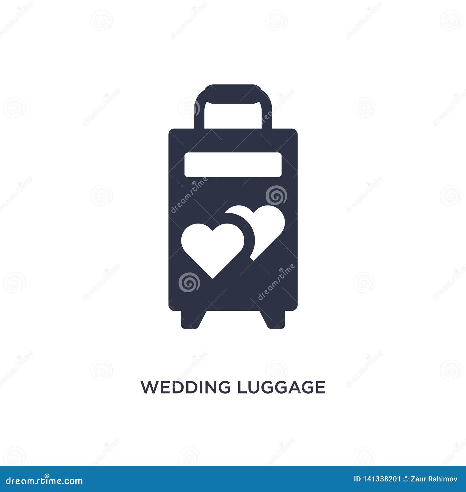 Het pictogram van de huwelijksbagage op witte achtergrond Eenvoudige elementenillustratie van verjaardagspartij en huwelijksconce