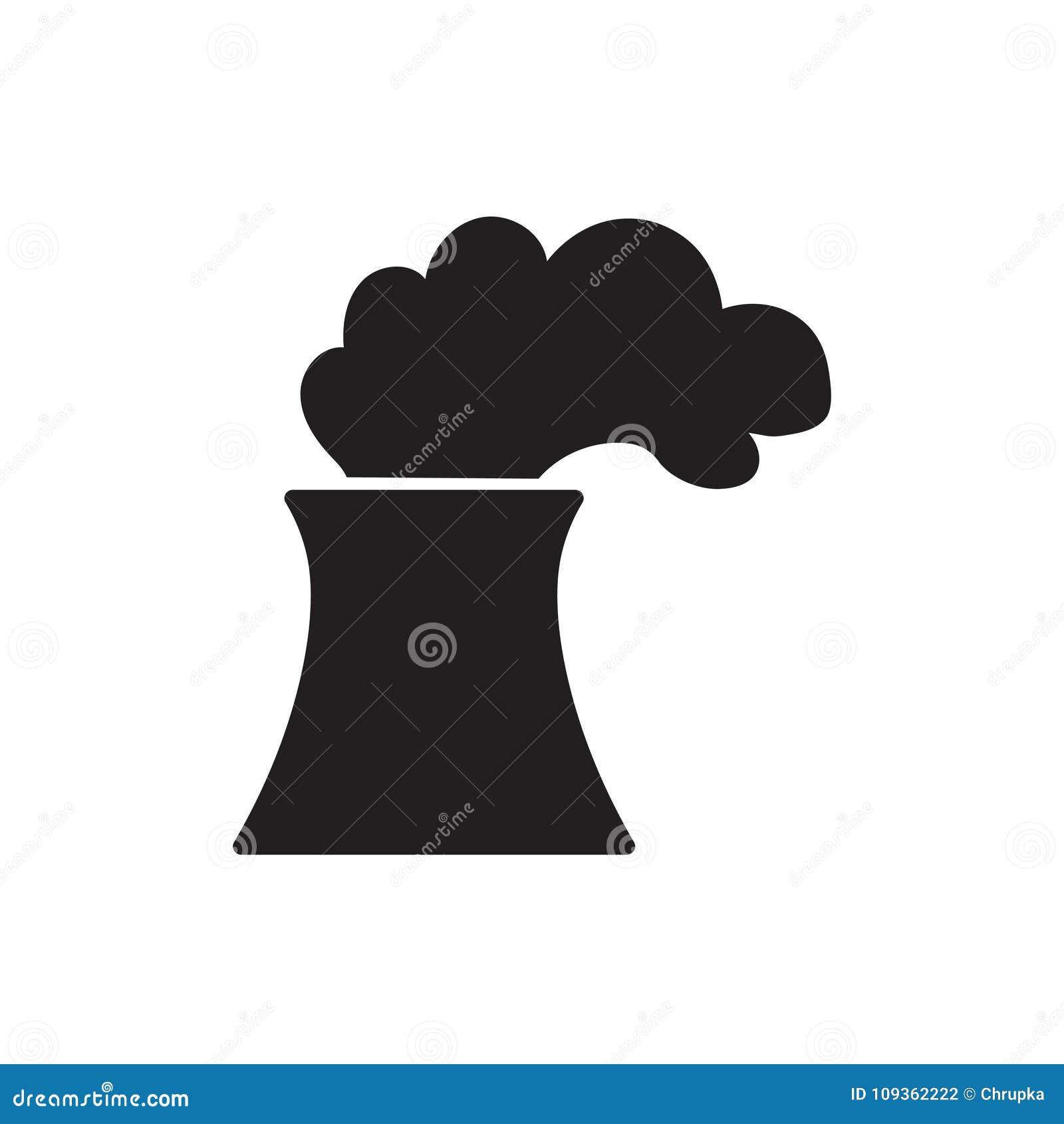 Het pictogram van de kern of steenkoolelektrische centrale