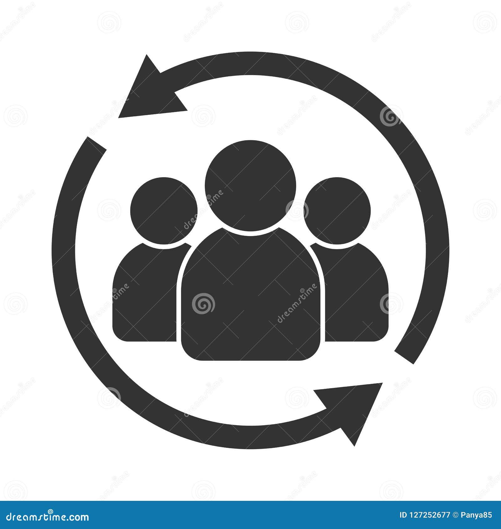 Het pictogram van de klanteninteractie Van cliënt het terugkeren of renention symbool