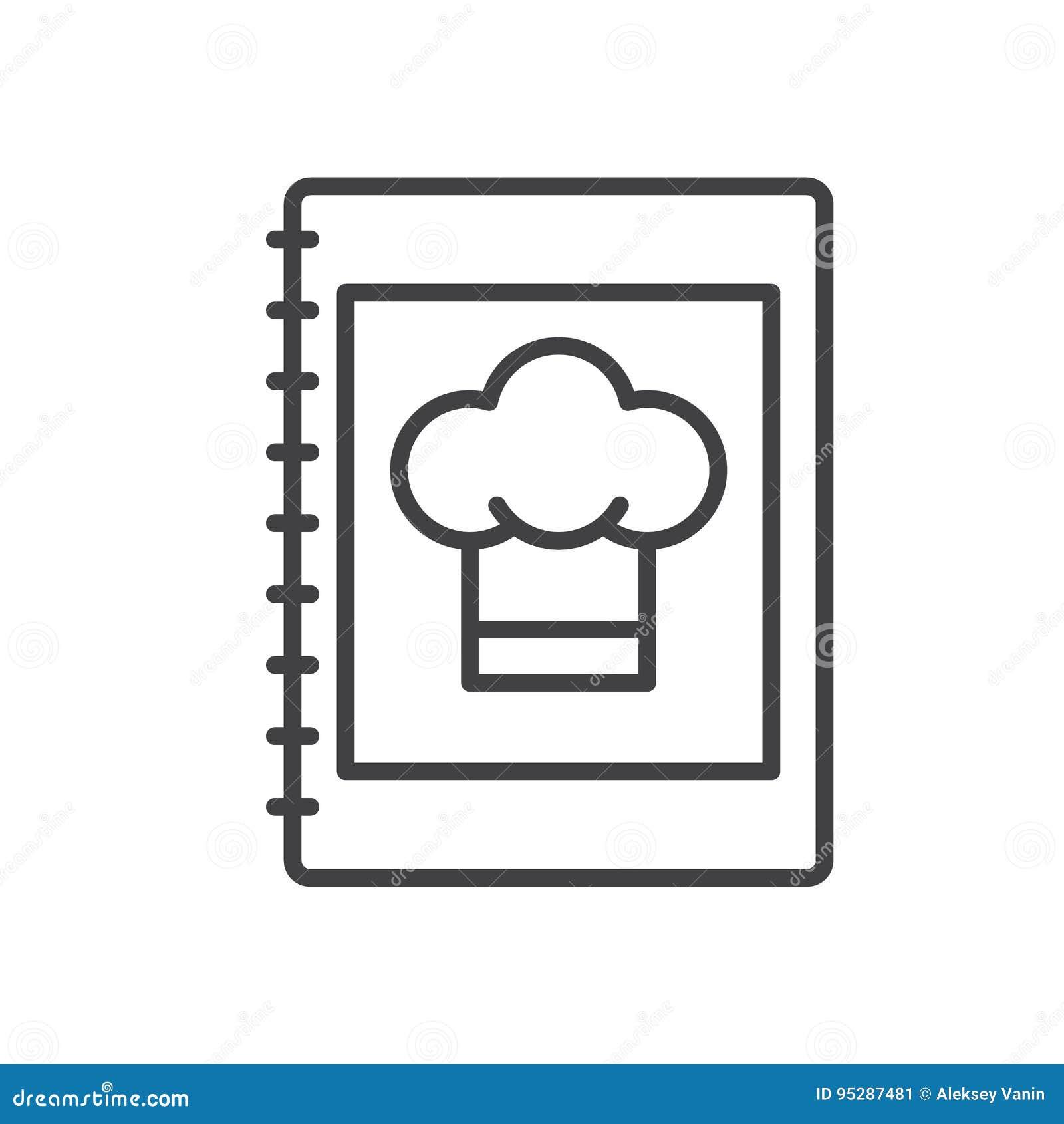 Het pictogram van de kookboeklijn, overzichts vectorteken, lineair die stijlpictogram op wit wordt geïsoleerd
