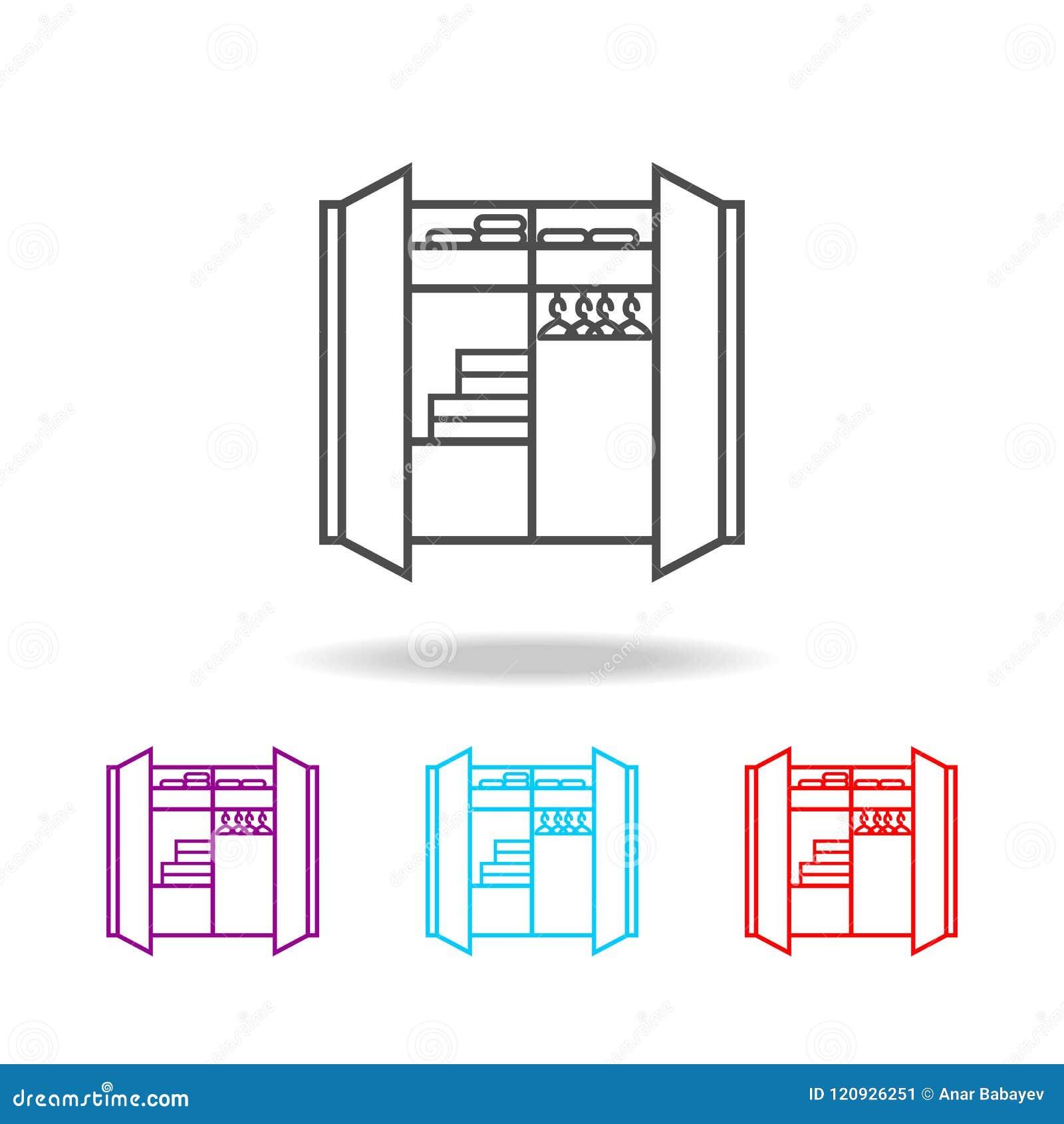 Het pictogram van de linnenkast Elementen van meubilair in multi gekleurde pictogrammen Grafisch het ontwerppictogram van de prem
