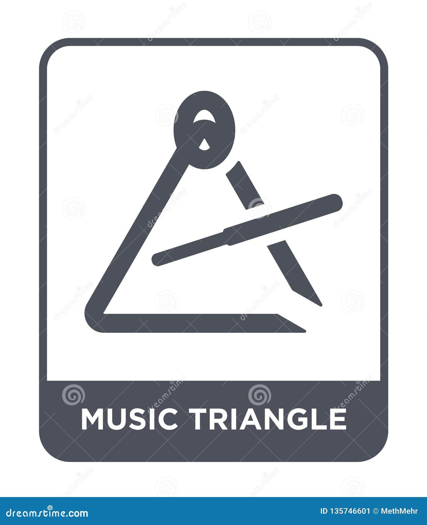 Het pictogram van de muziekdriehoek in in ontwerpstijl het pictogram van de muziekdriehoek op witte achtergrond wordt geïsoleerd