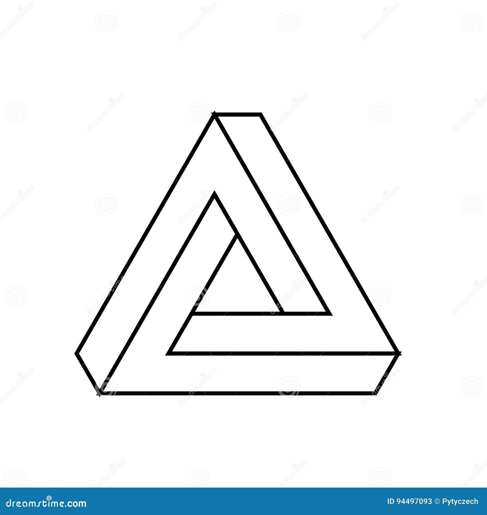Het pictogram van de Penrosedriehoek Geometrische 3D objecten optische illusie Zwarte overzichts vectorillustratie