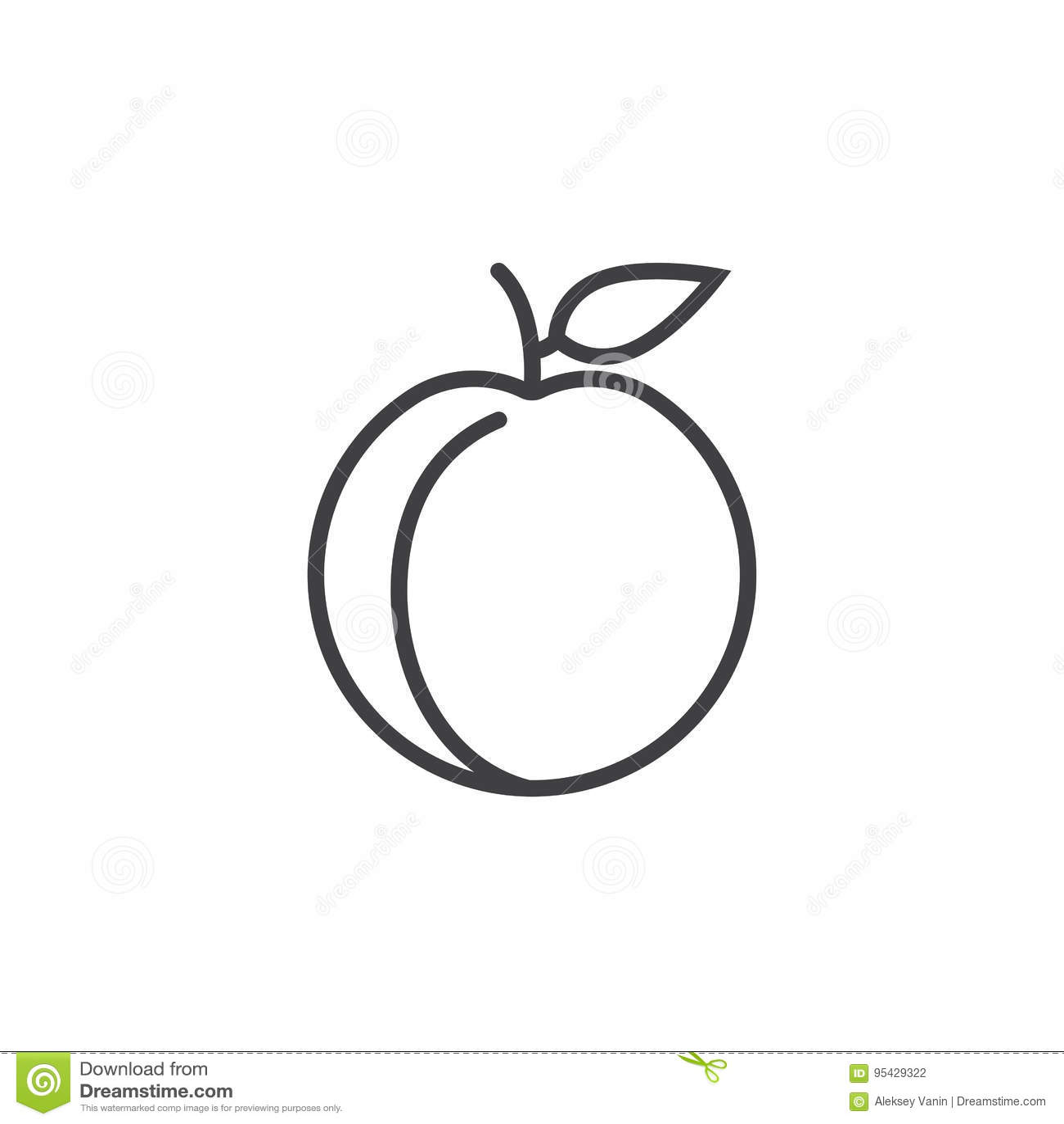 Het pictogram van de perziklijn, overzichts vectorteken, lineair die pictogram op wit wordt geïsoleerd