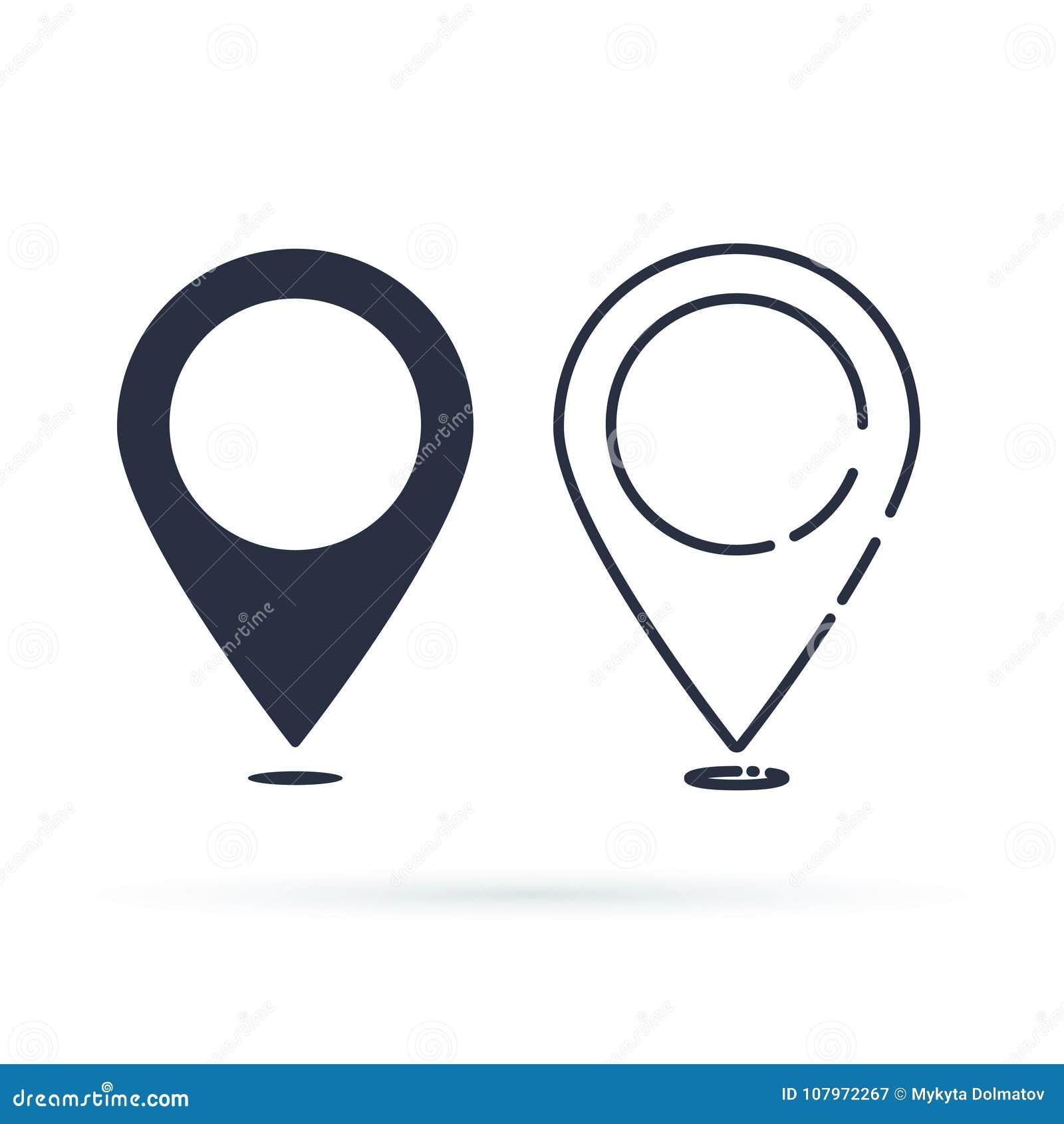 Het Pictogram van de plaats Speldteken op witte achtergrond wordt geïsoleerd die Navigatiekaart, gps of richting van plaatsconcep