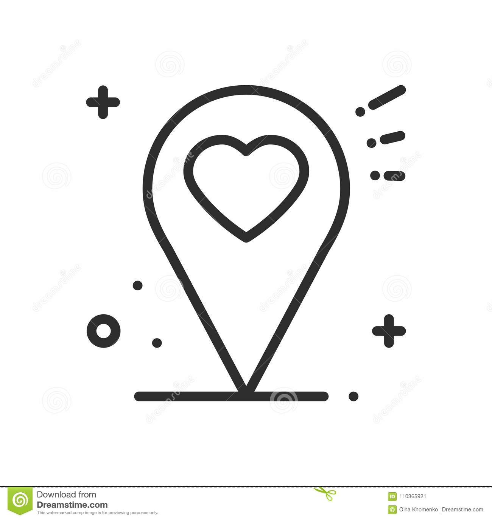 Het pictogram van de plaatslijn De wijzerteken en symbool van de kaartspeld nearsighted De vorm van het hart