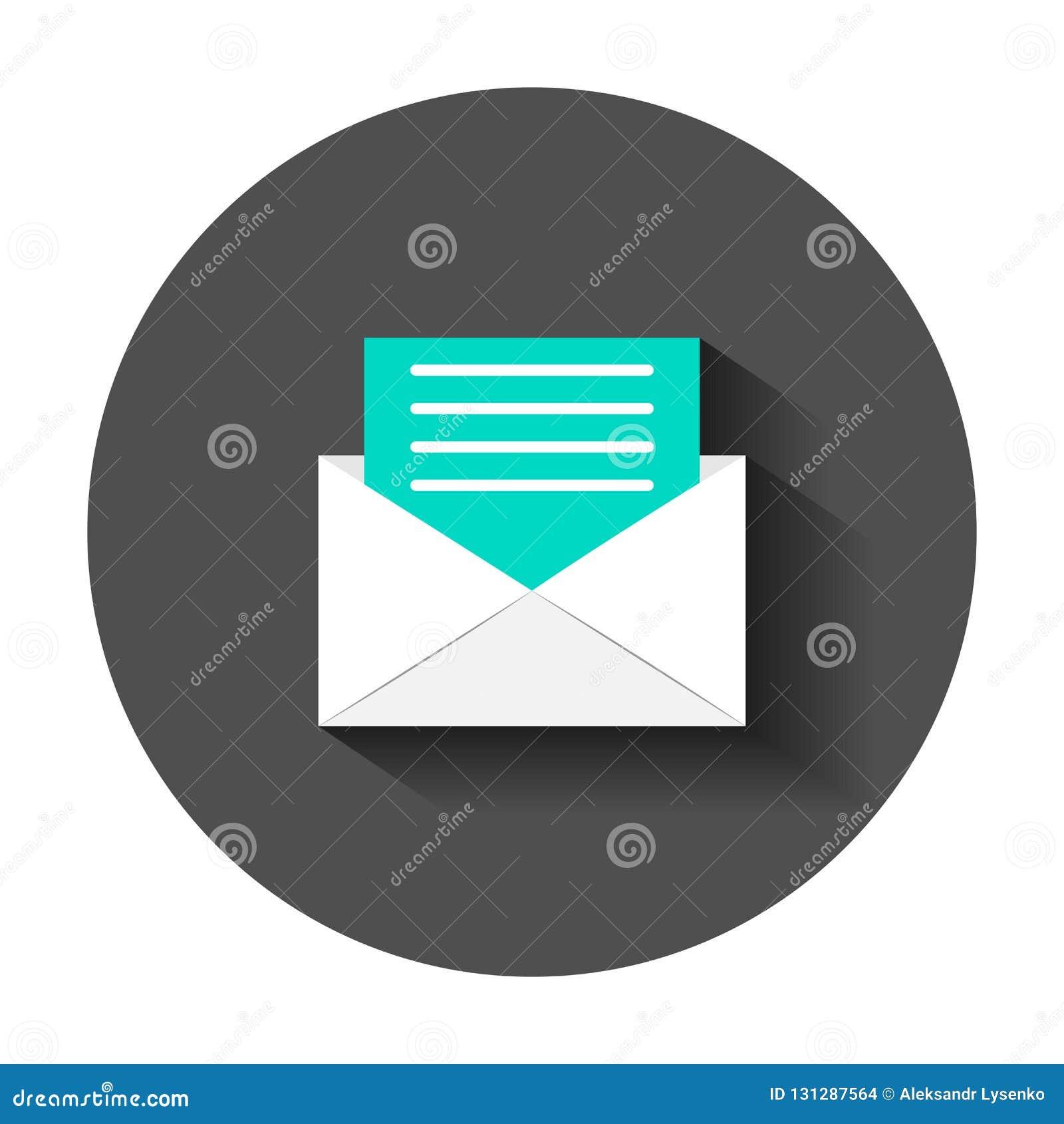 Het pictogram van de postenvelop in vlakke stijl E-mailberichtvector illustrat