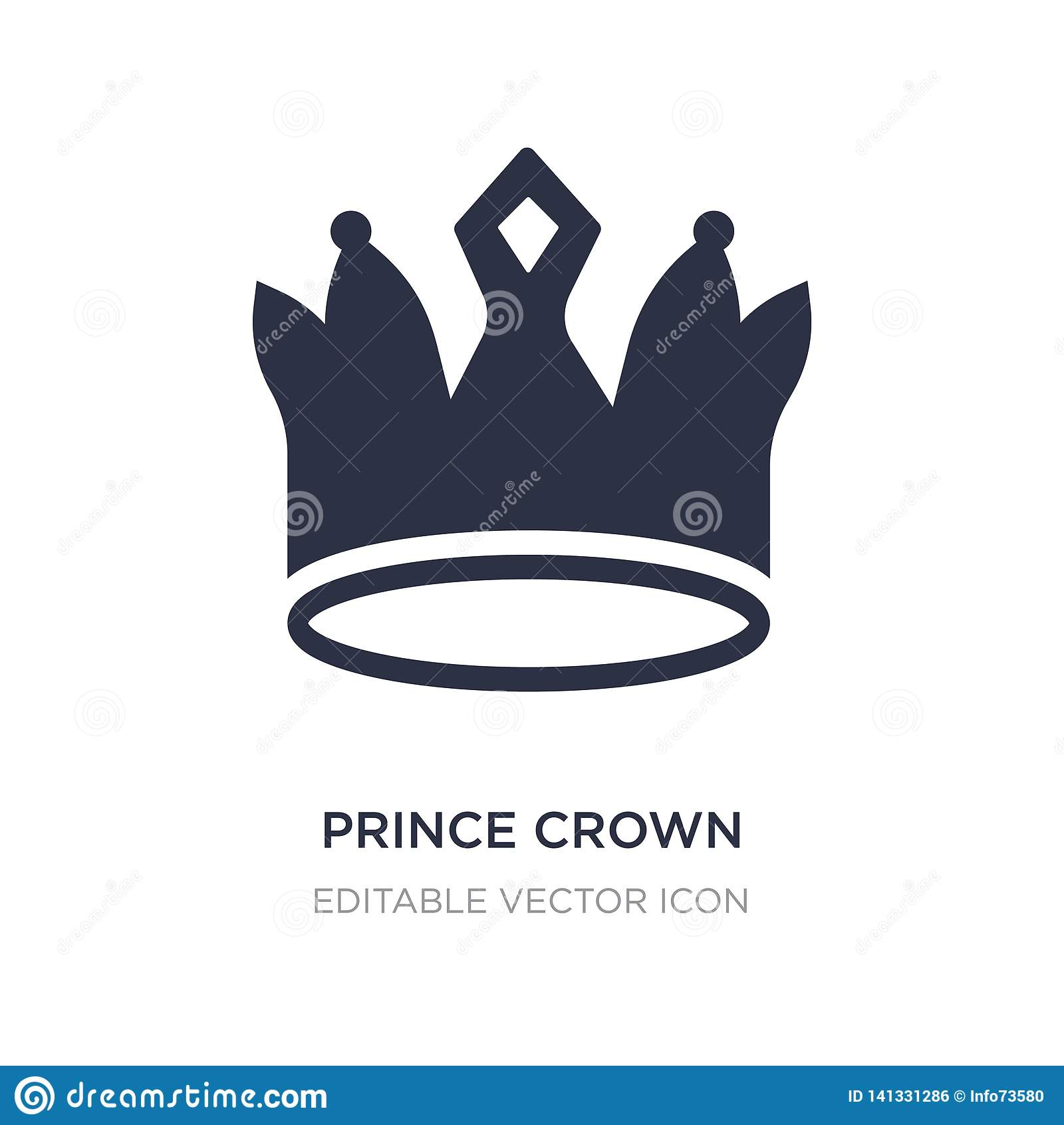 Het pictogram van de prinskroon op witte achtergrond Eenvoudige elementenillustratie van Vormenconcept