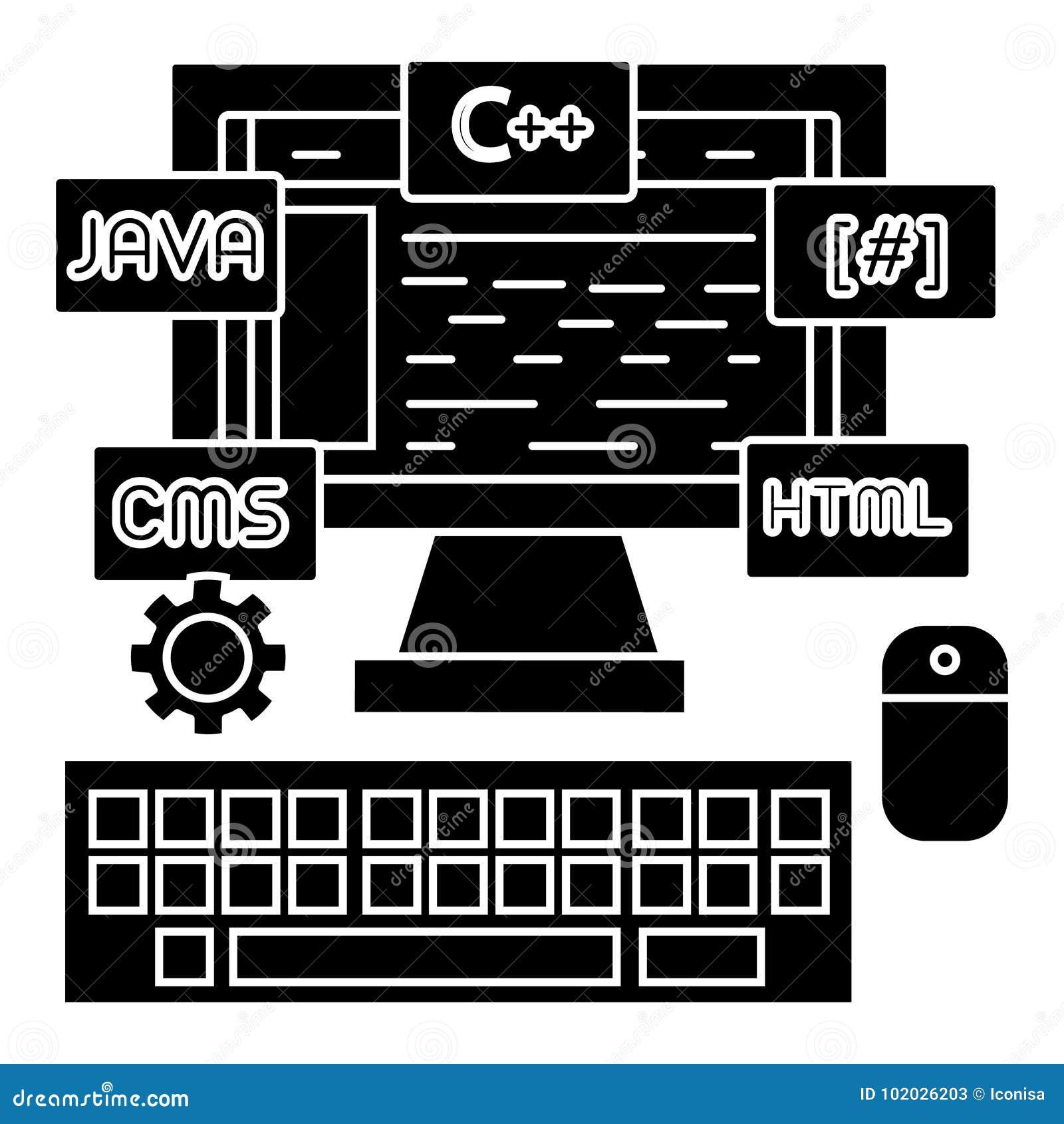 Het pictogram van de programmerings - codage - wed ontwikkelaar, vectorillustratie, zwart teken op geïsoleerde achtergrond