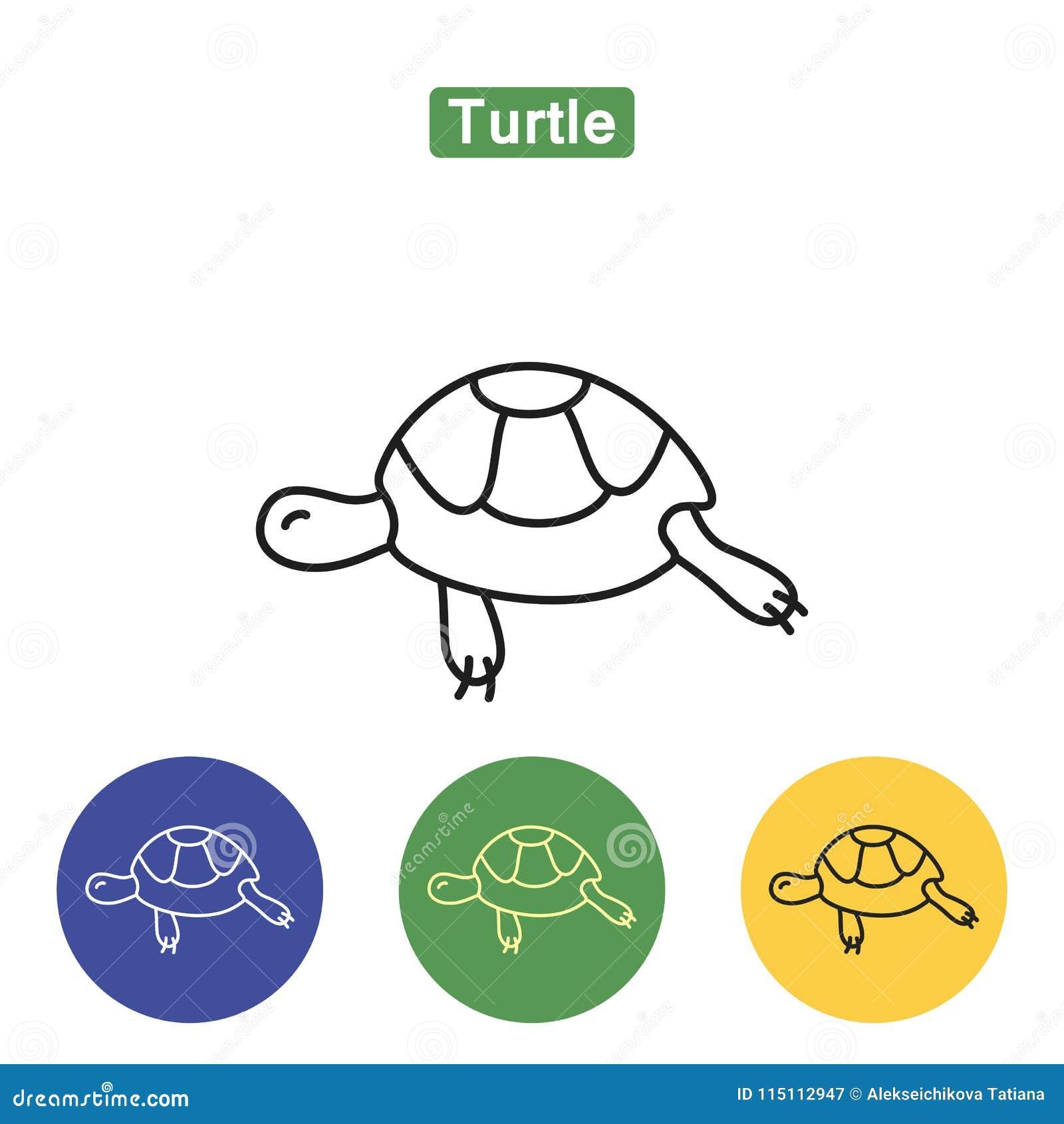 Het pictogram van de schildpadlijn