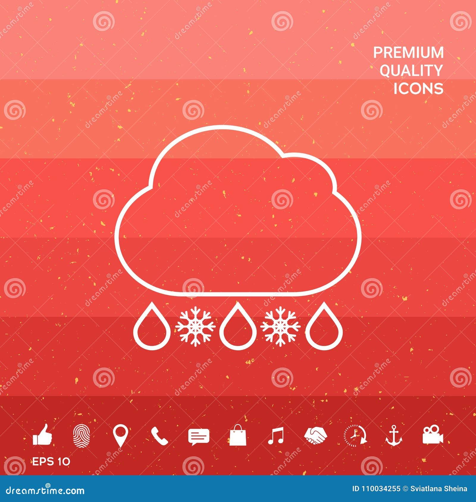 Het pictogram van de de sneeuwlijn van de wolkenregen