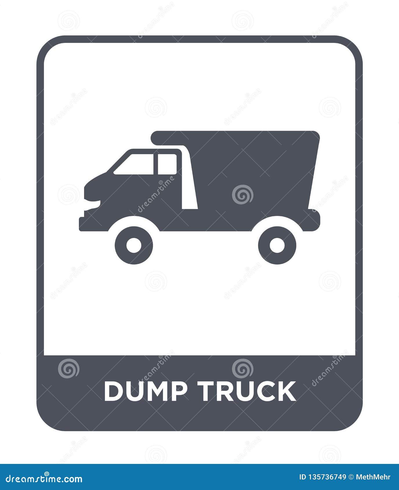 Het pictogram van de stortplaatsvrachtwagen in in ontwerpstijl het pictogram van de stortplaatsvrachtwagen op witte achtergrond w