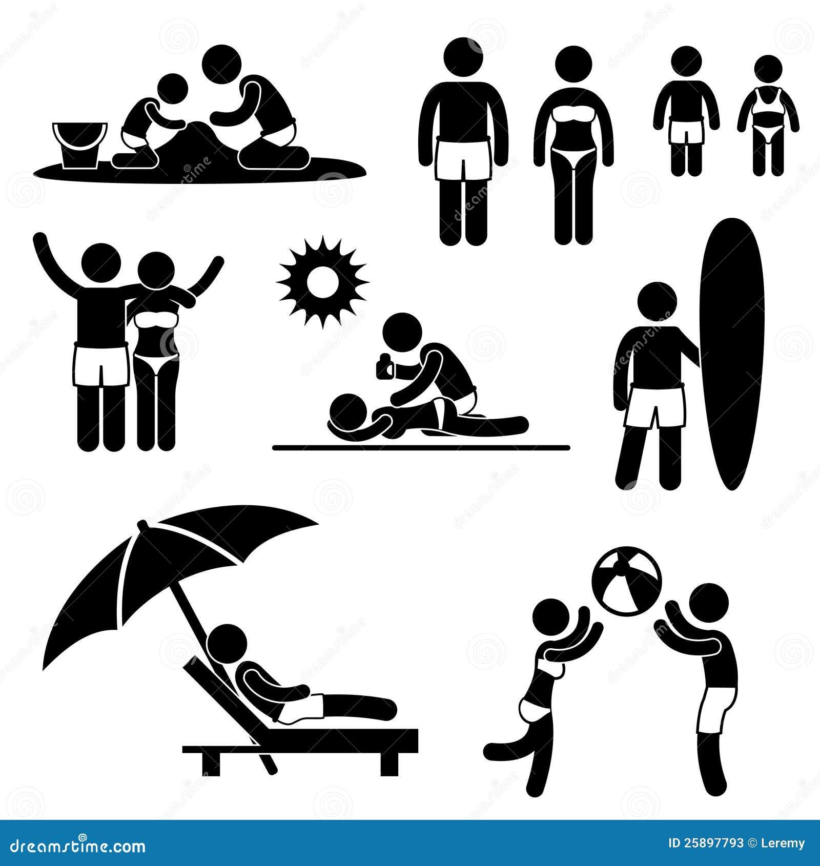 het pictogram van de vakantie van de vakantie van het strand van de zomer van de familie stock. Black Bedroom Furniture Sets. Home Design Ideas