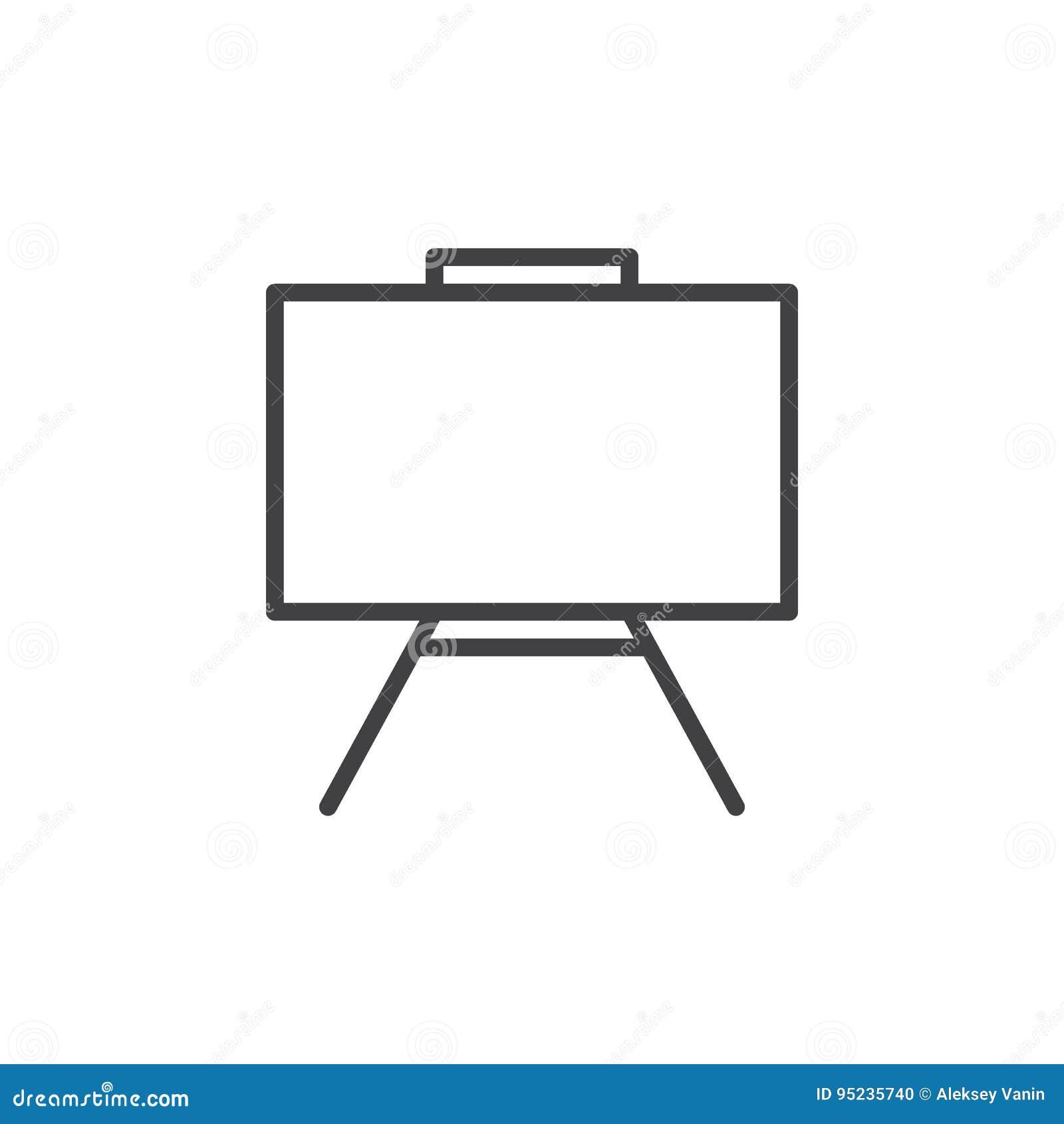 Het pictogram van de Whiteboardlijn, overzichts vectorteken, lineair die stijlpictogram op wit wordt geïsoleerd