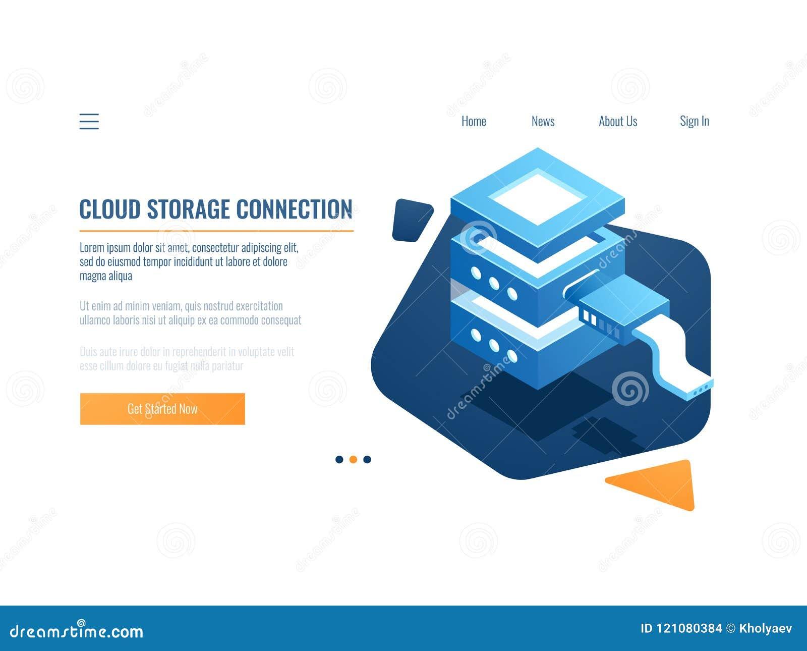 Het pictogram van de wolkendienst, opslag van banner de verre gegevens en reservesysteem, serverruimte, datacenter en gegevensbes