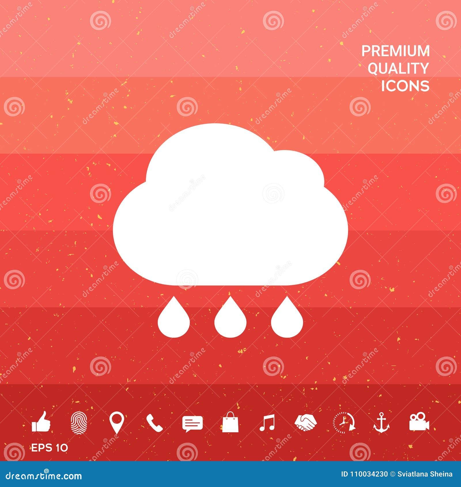 Het pictogram van de wolkenregen met dalingen